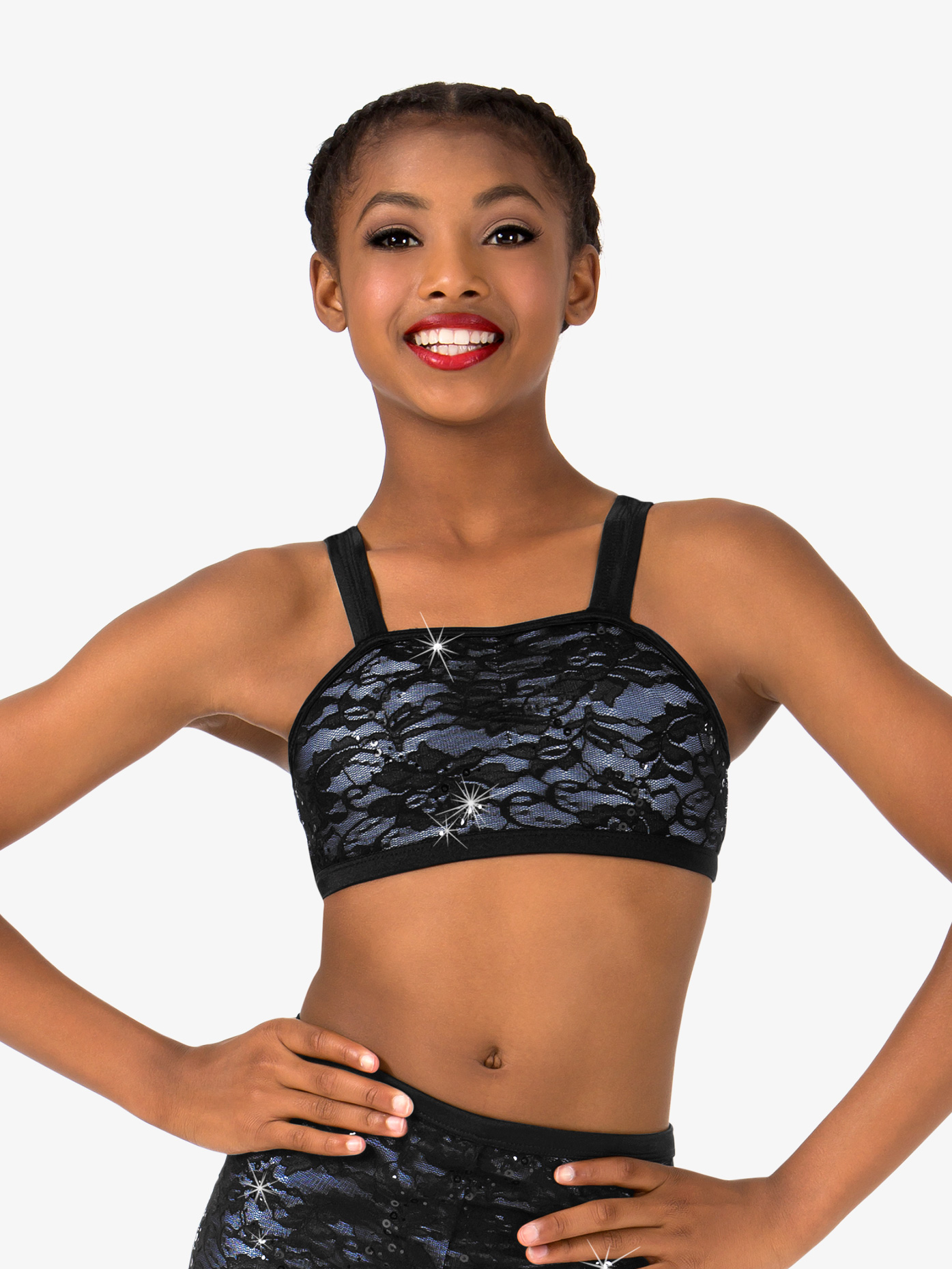 Elisse by Double Platinum Girls Lace Tank Dance Bra Top N7489C