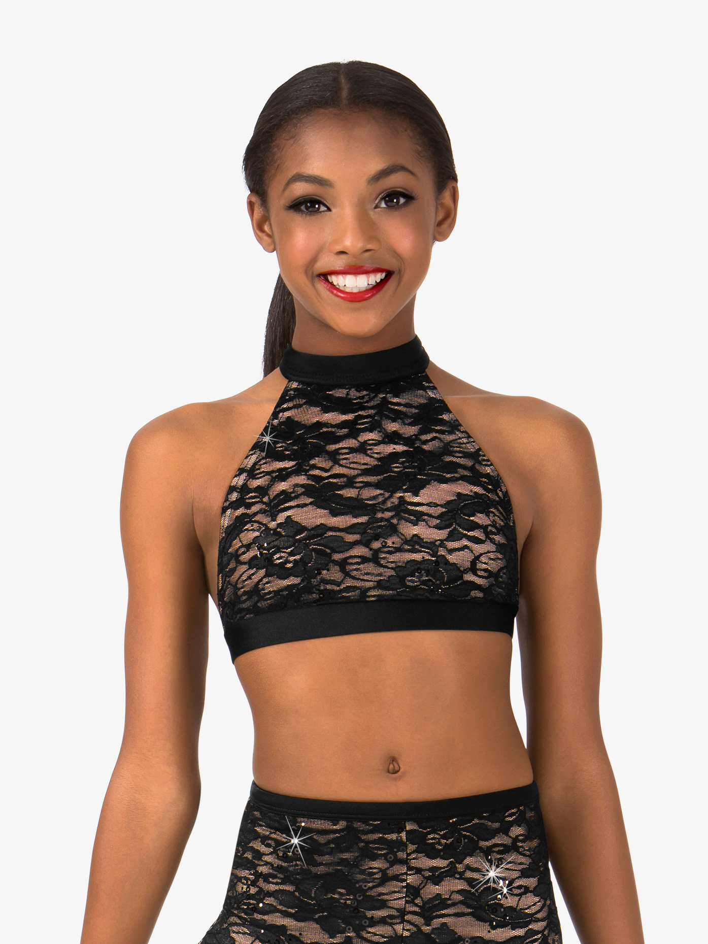 Elisse by Double Platinum Girls Lace T-Back Dance Bra Top N7491C