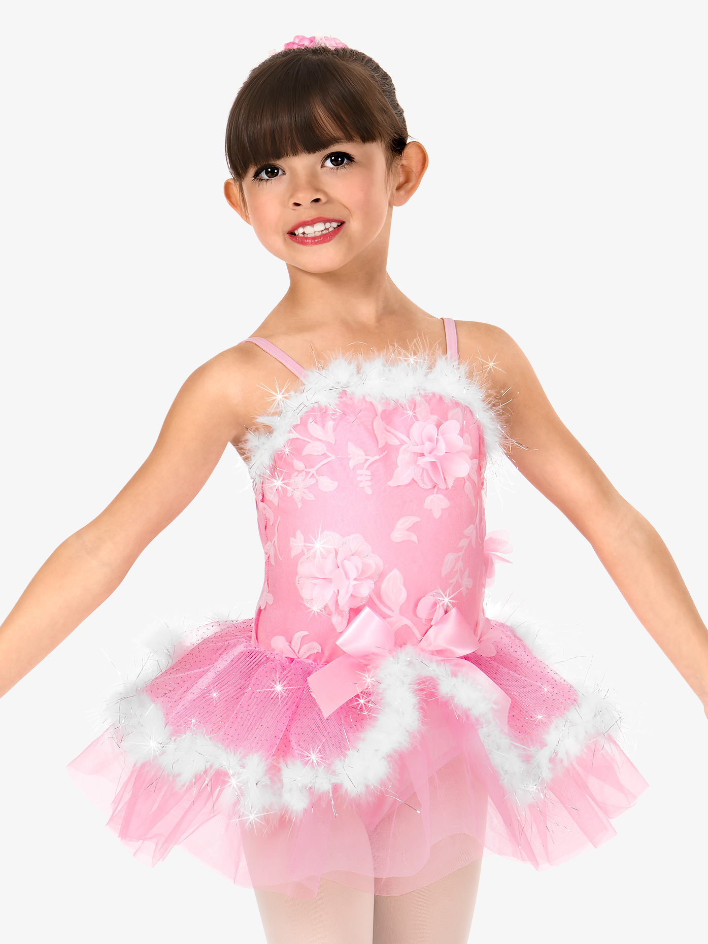 Gracie Girls 3-D Floral Fur Trimmed Performance Tutu Dress N7495C