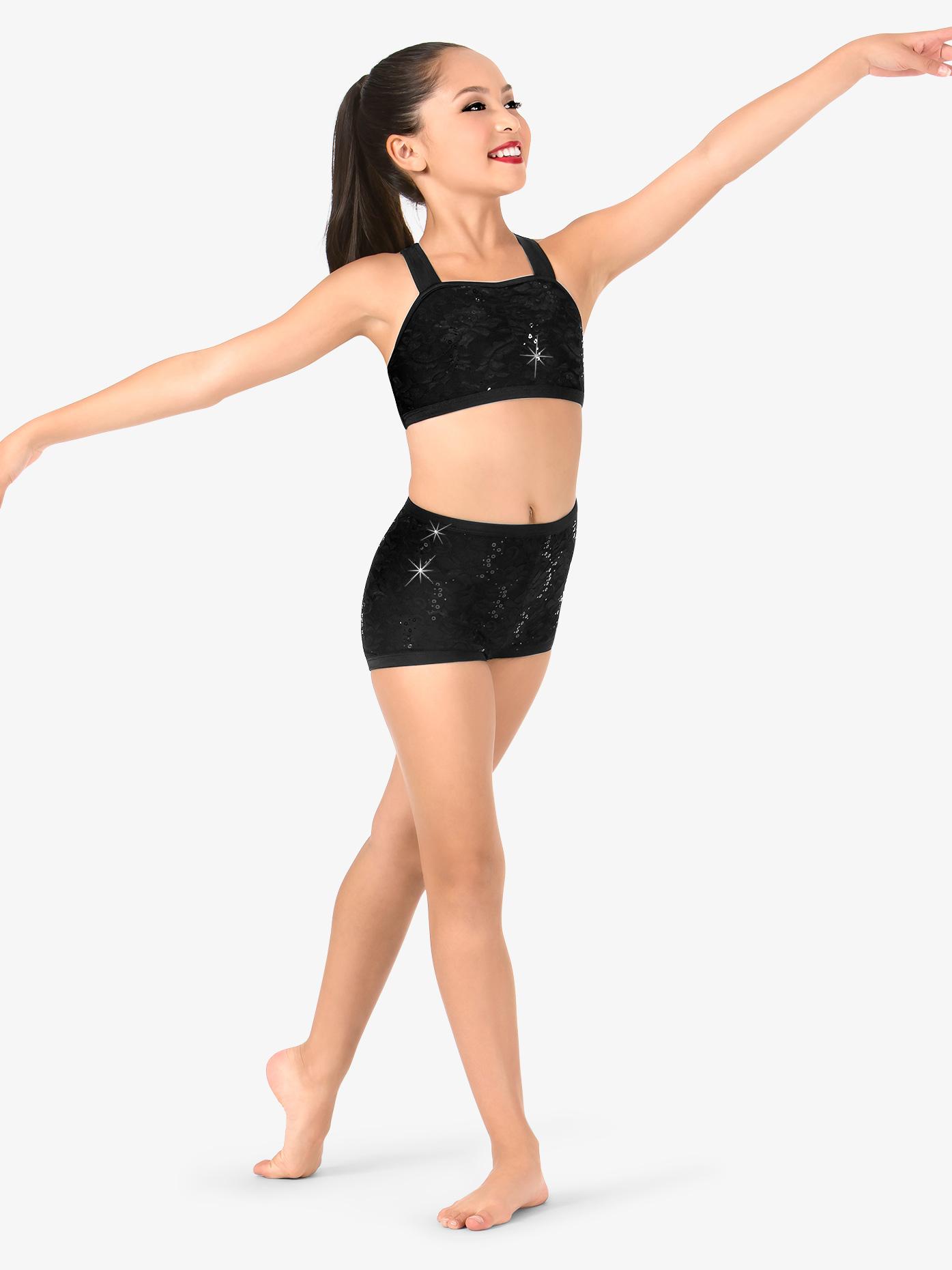 Elisse by Double Platinum Girls Floral Lace Dance Shorts N7497C