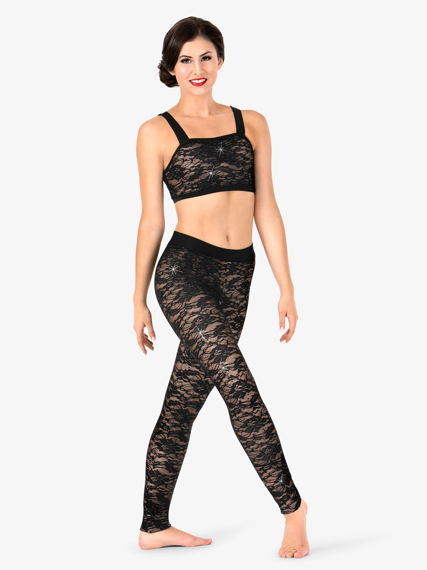 Elisse by Double Platinum Womens Floral Lace Dance Leggings N7498