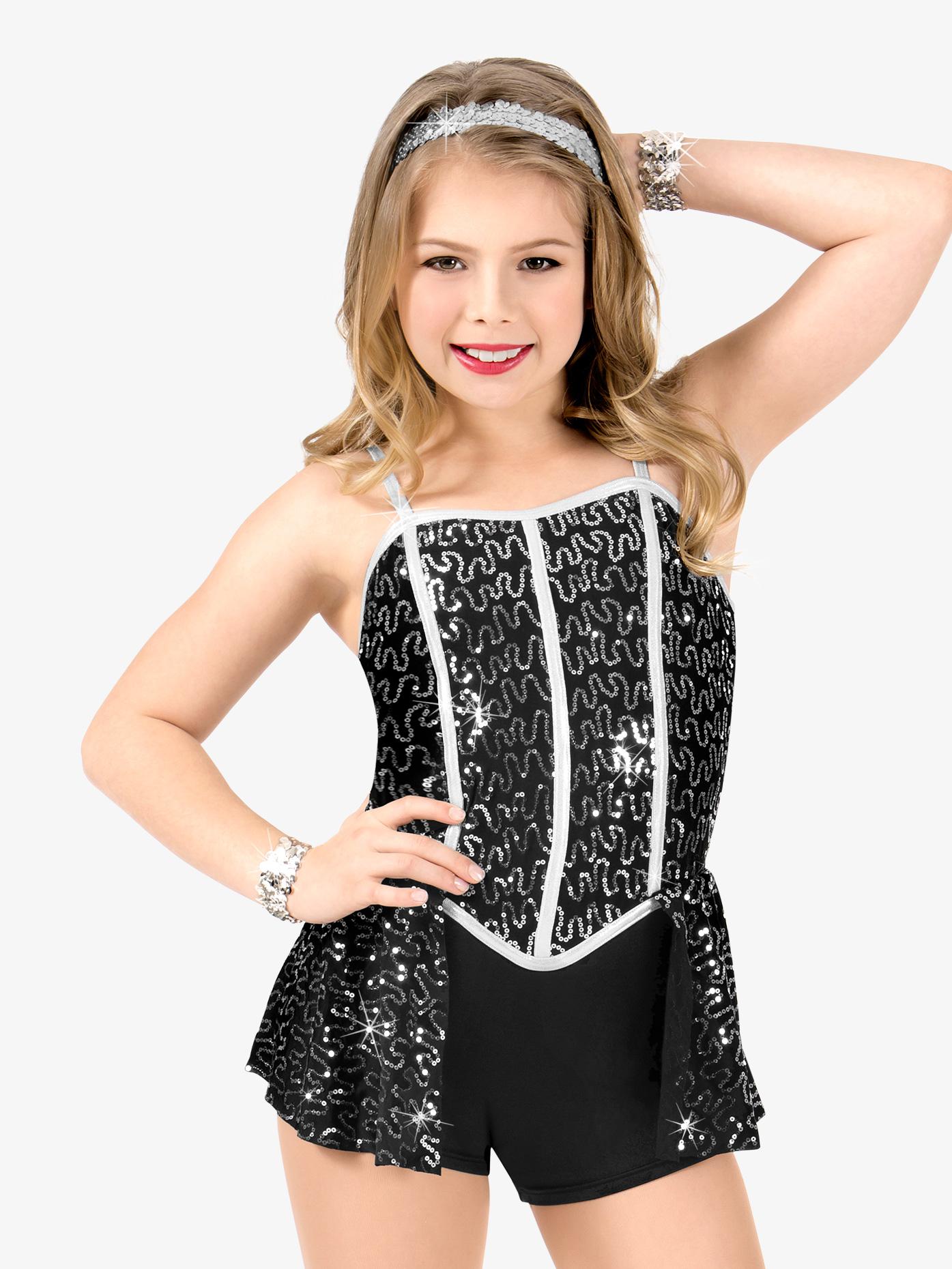 Elisse by Double Platinum Girls Sequin Camisole Performance Shorty Unitard N7499C