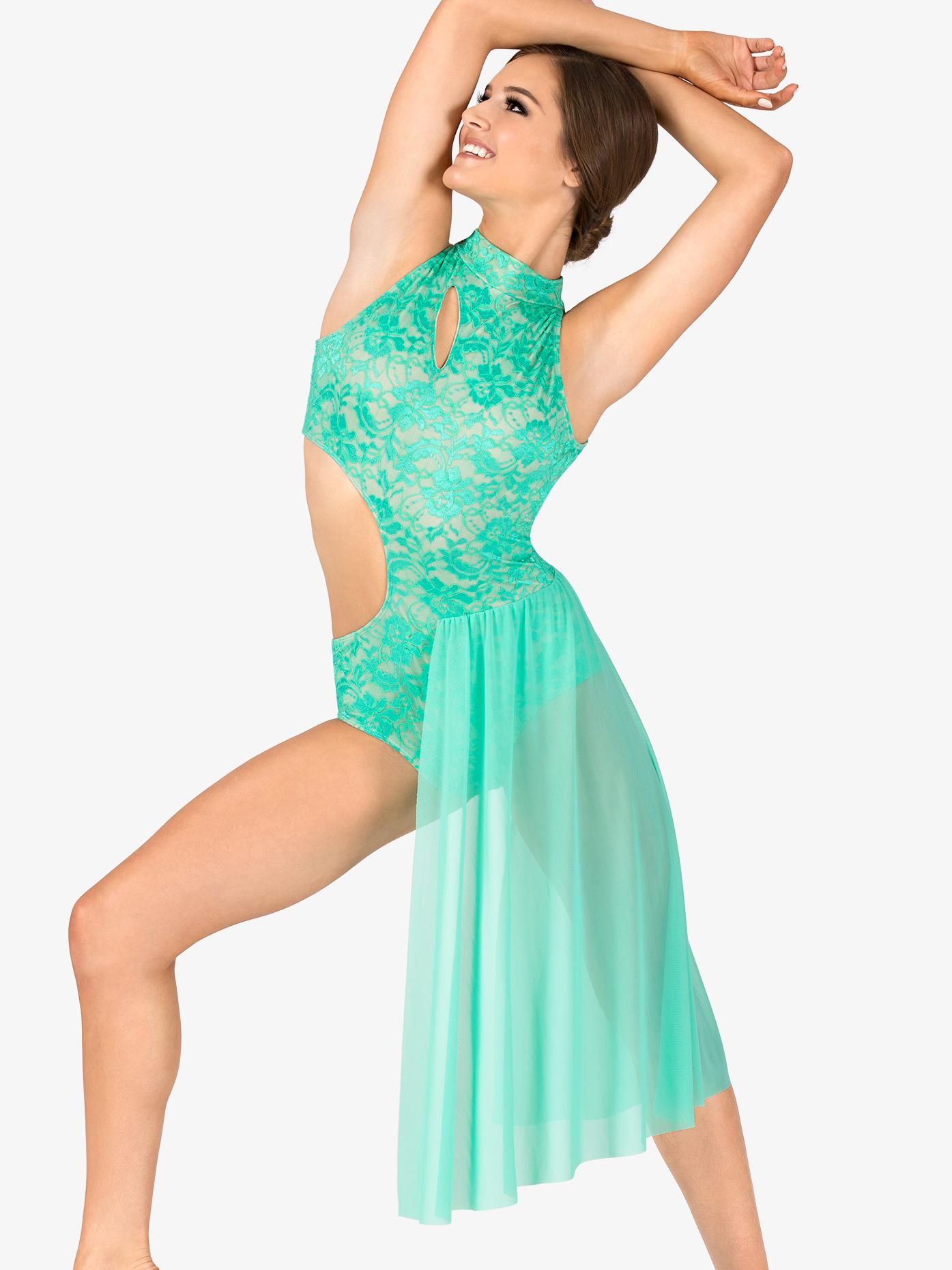 Double Platinum Womens Performance Lace Mock Neck Asymmetrical Dress N7561