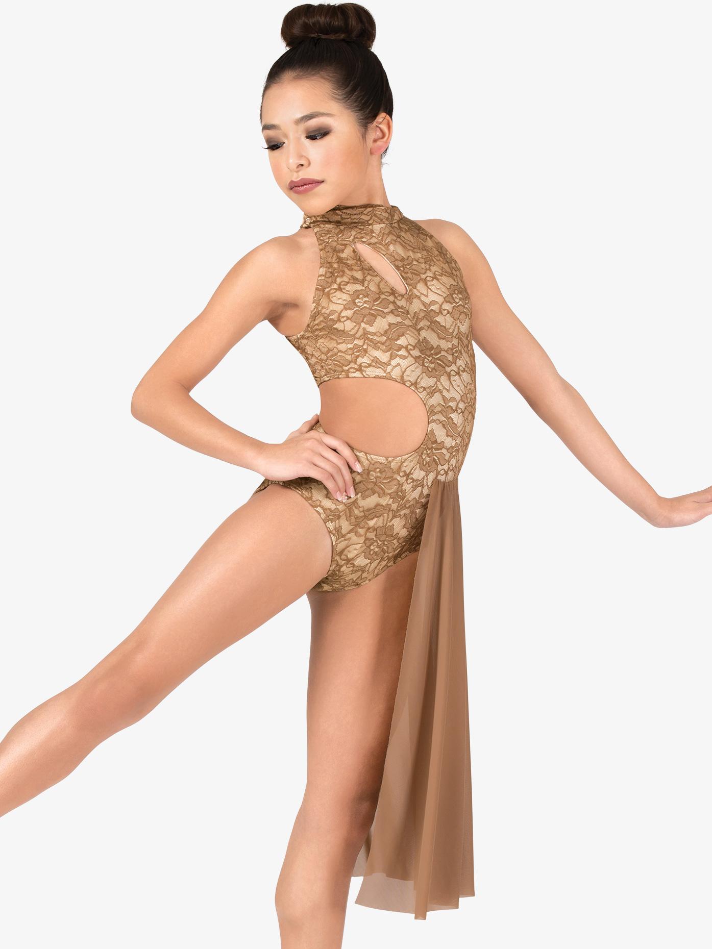 Double Platinum Girls Performance Lace Mock Neck Asymmetrical Dress N7561C