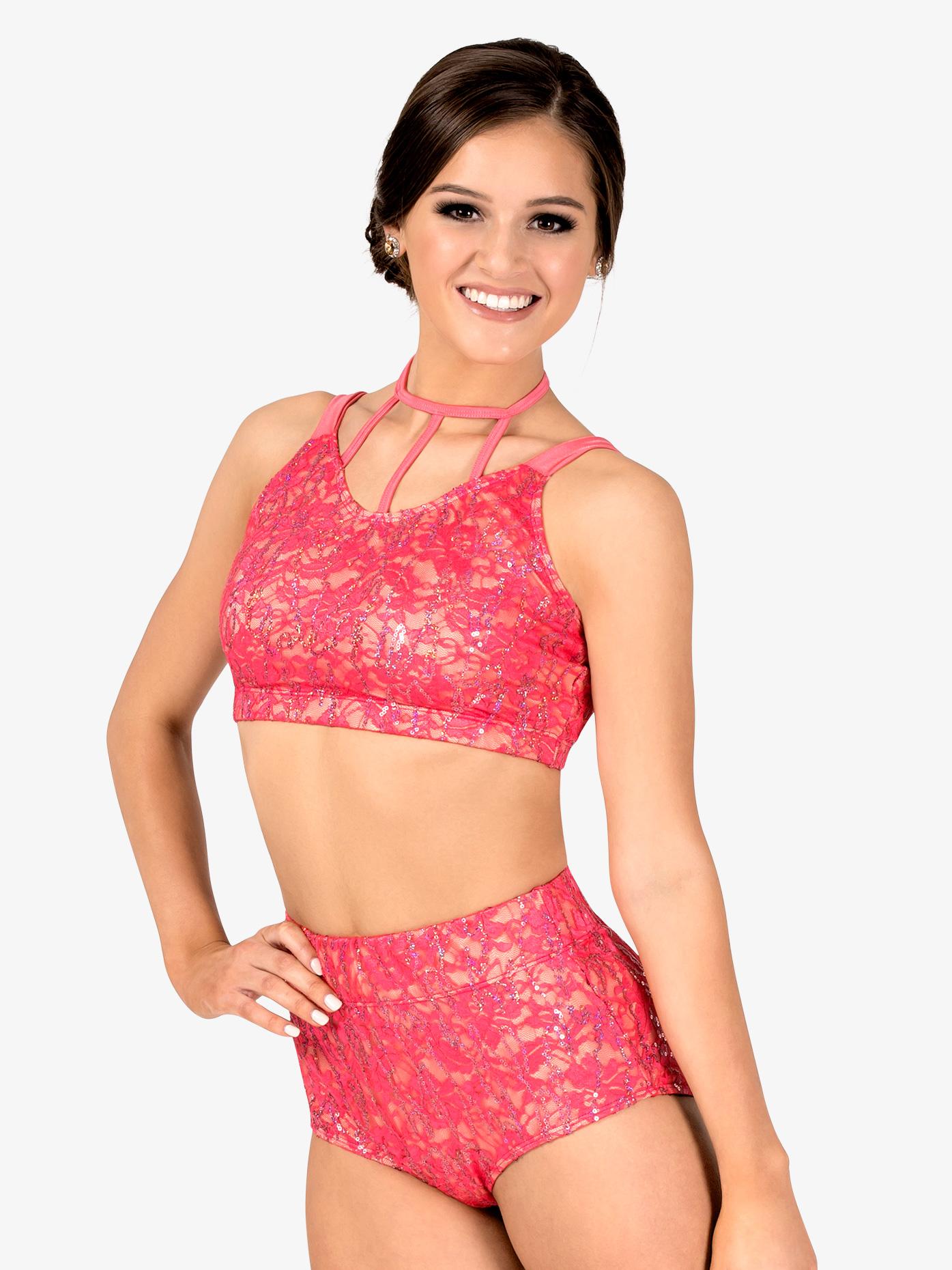Double Platinum Womens Sequin Lace 2-Piece Dance Costume Set N7563