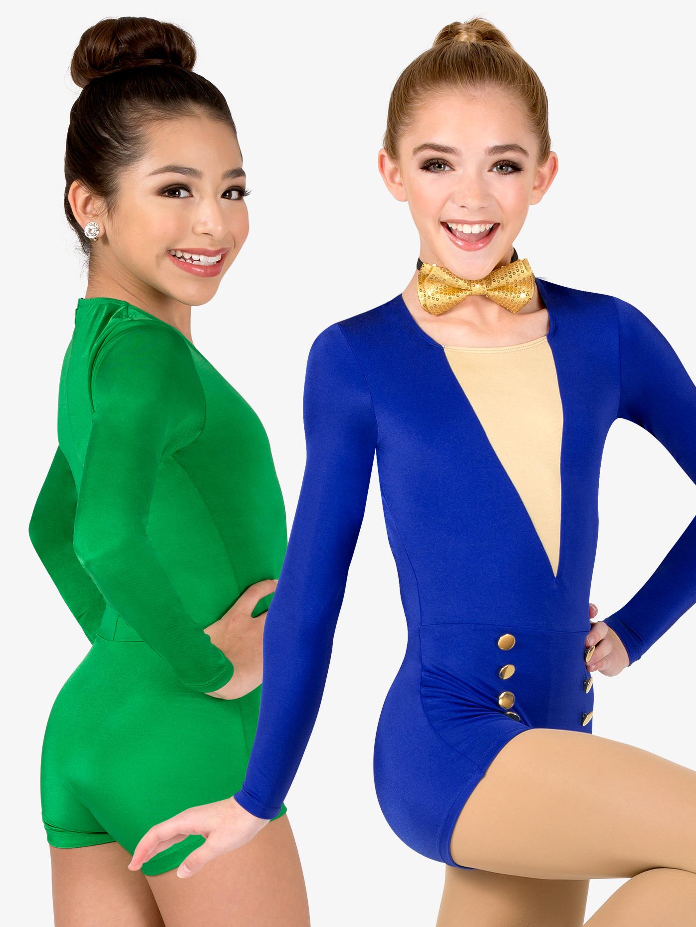Double Platinum Girls Performance Long Sleeve Shorty Unitard N7566C