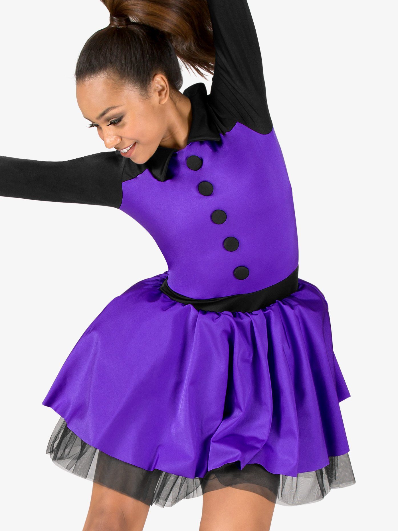 Double Platinum Womens Performance Two-Tone Long Sleeve Tutu Dress N7570