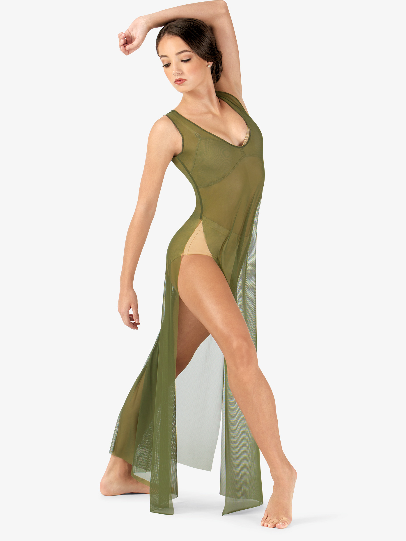Double Platinum Adult Long V-Neck Mesh Tank Lyrical Dress N7603