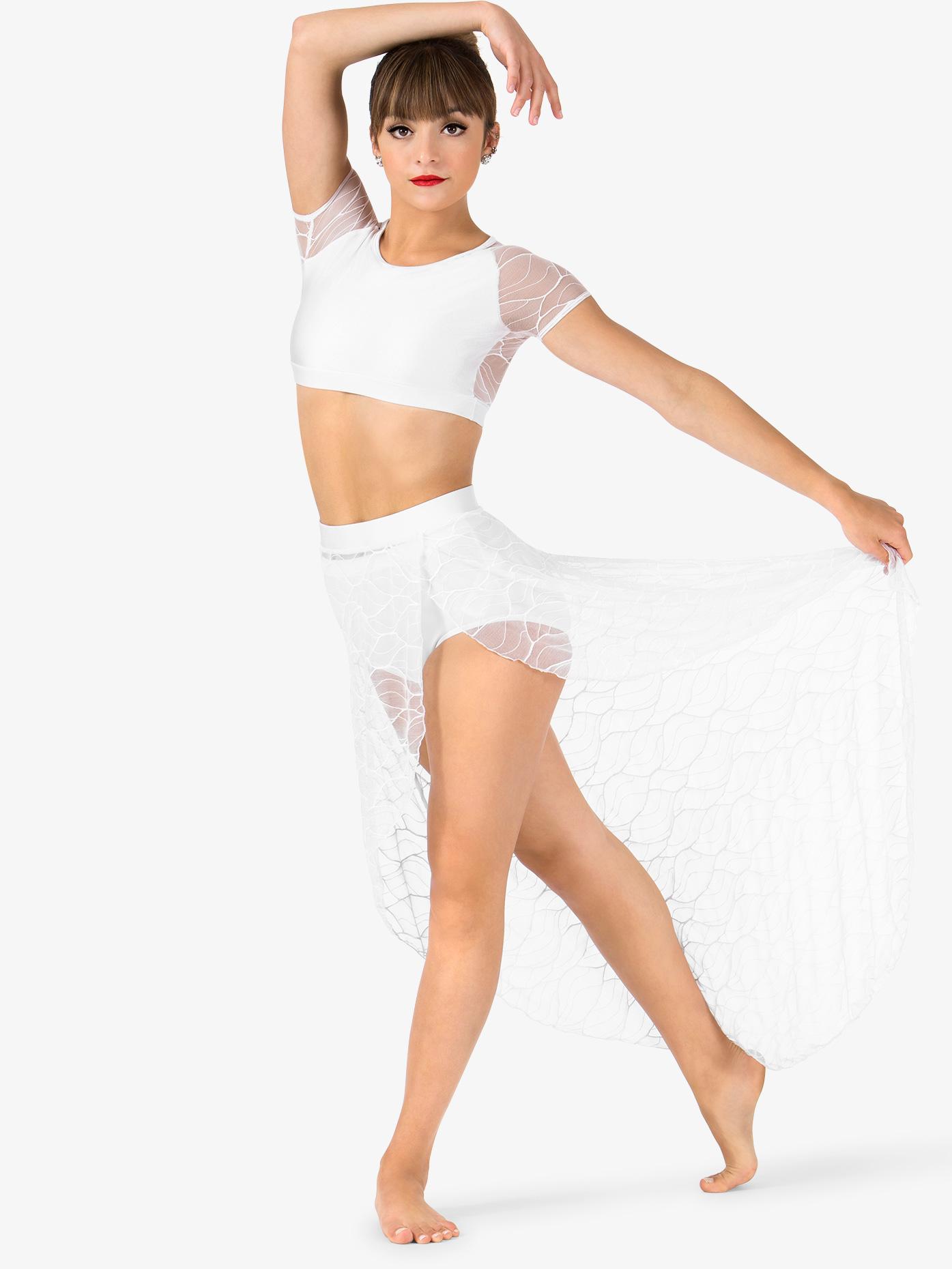Double Platinum Womens Swirl Mesh Long High-Low Performance Skirt N7630