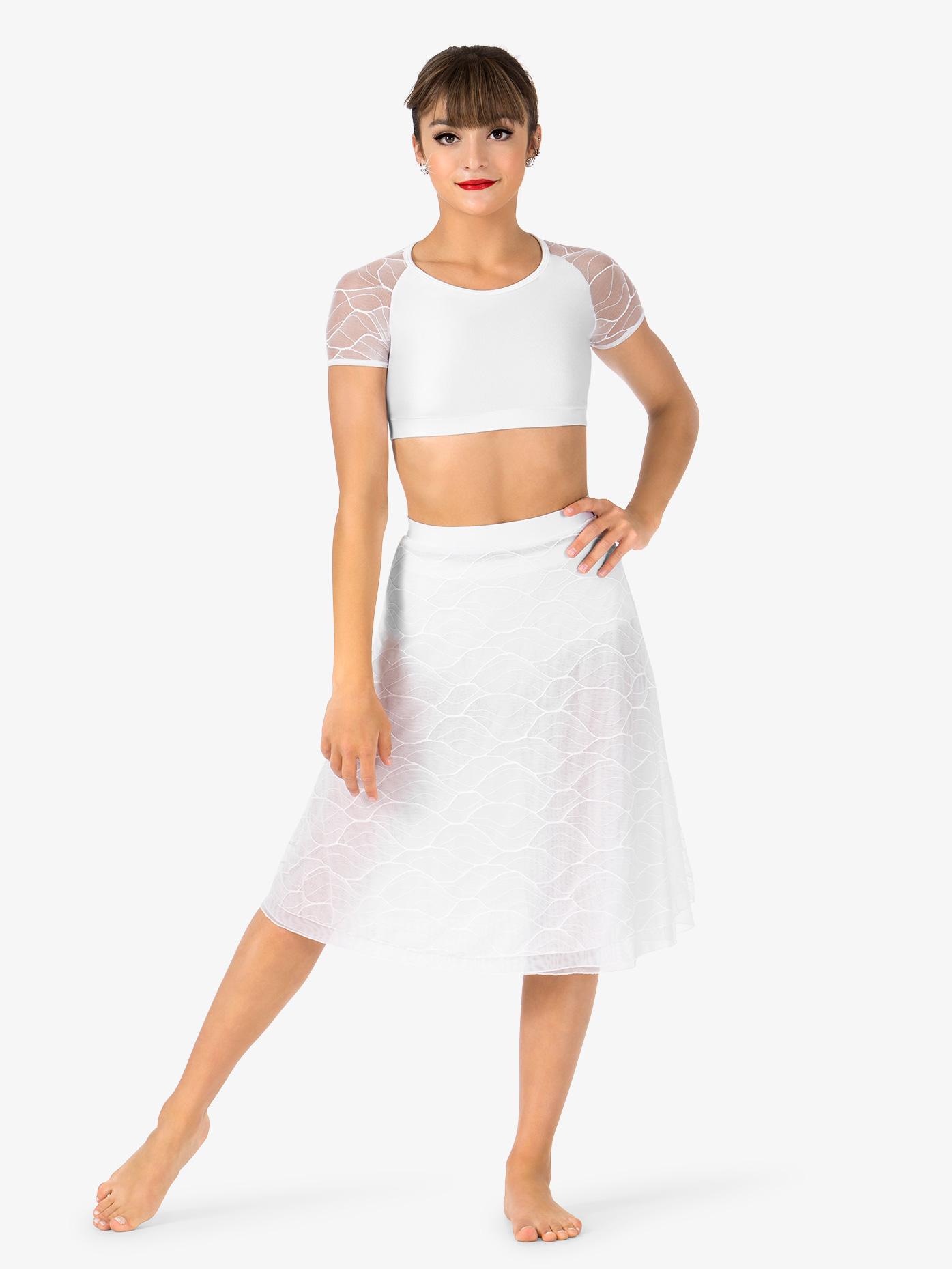 Double Platinum Womens Swirl Mesh Long Performance Skirt N7631