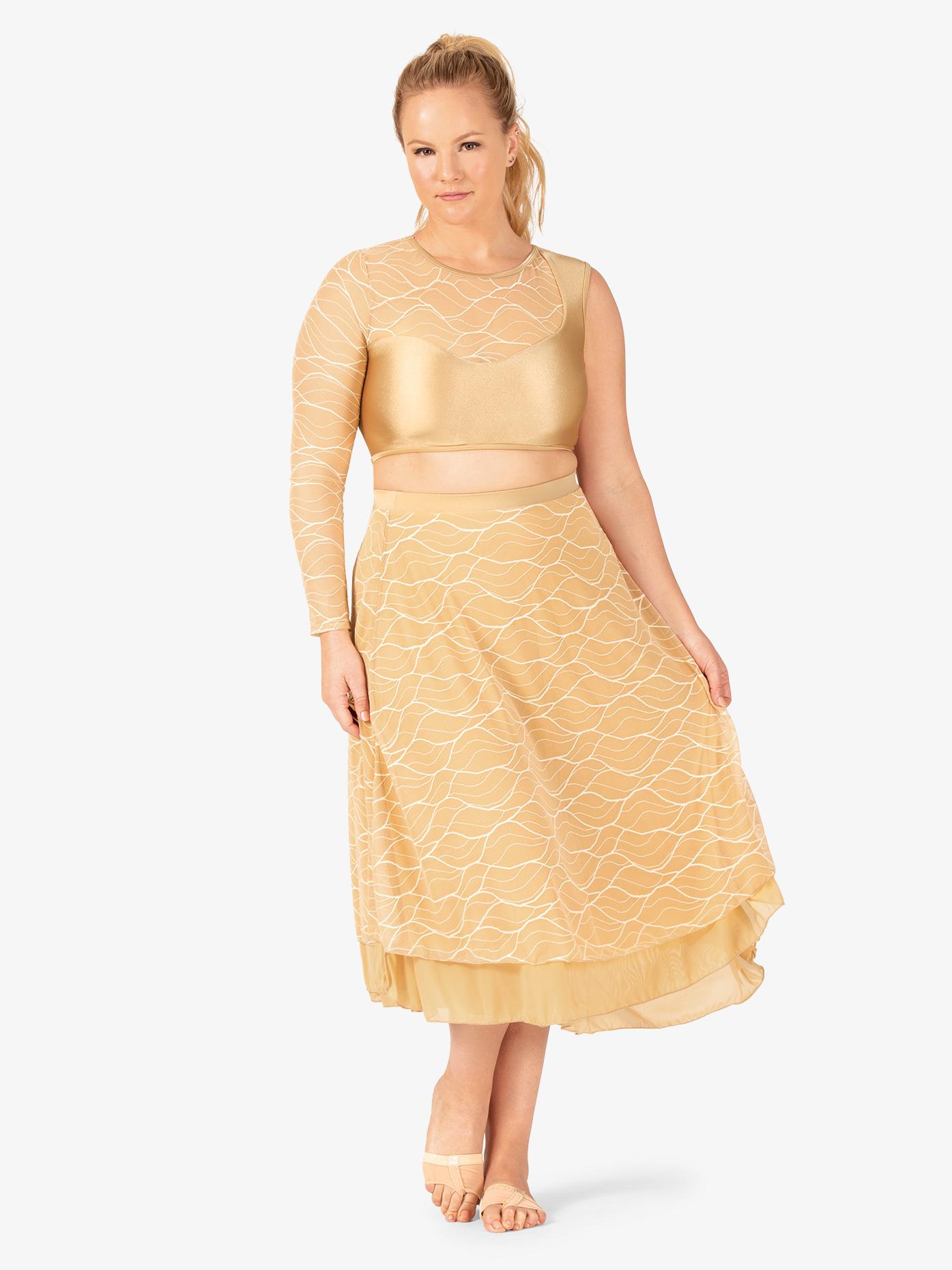Double Platinum Womens Plus Size Swirl Mesh Long Performance Skirt N7631P