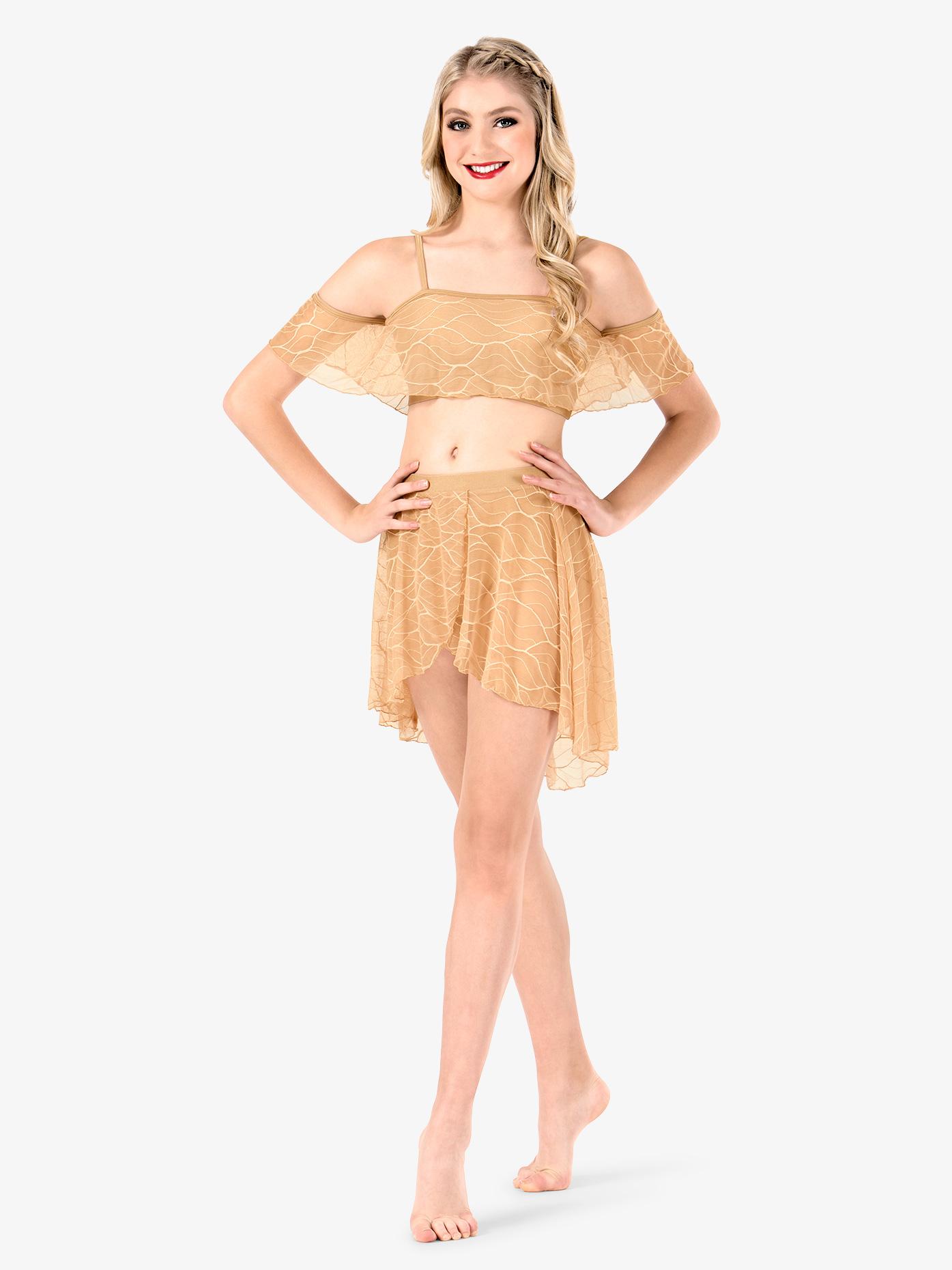 Double Platinum Womens Swirl Mesh Short High-Low Performance Skirt N7632