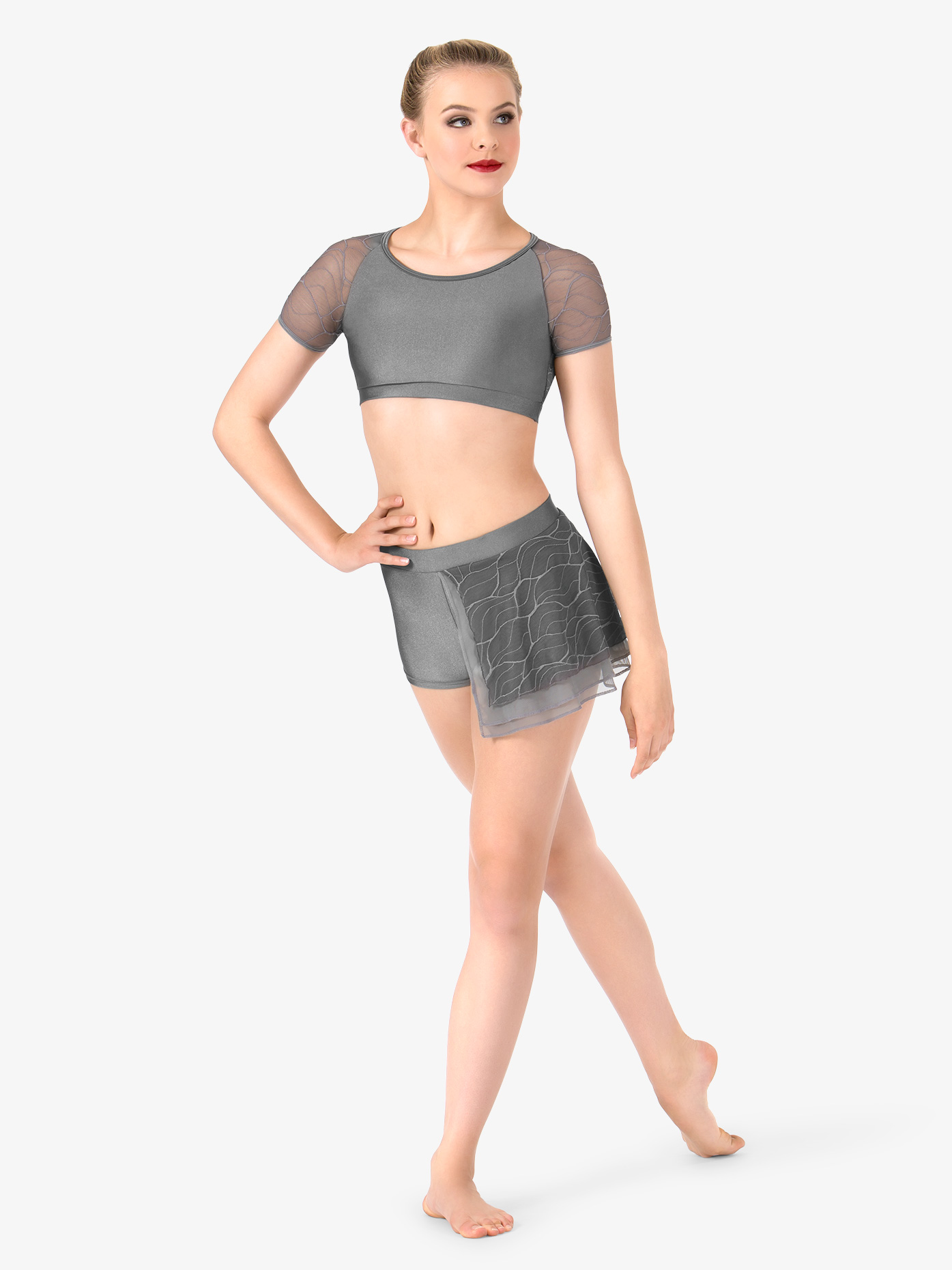 Double Platinum Womens Swirl Mesh Bustled Dance Shorts N7633