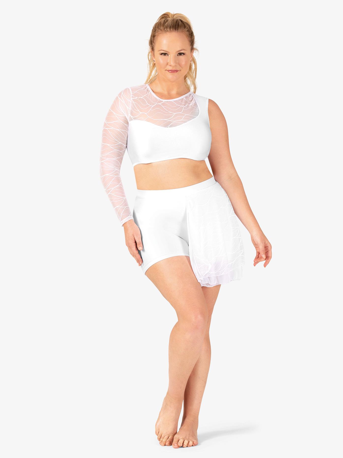 Double Platinum Womens Plus Size Swirl Mesh Bustled Dance Shorts N7633P