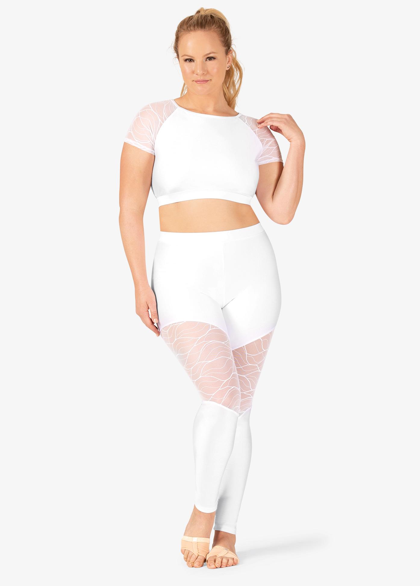 Double Platinum Womens Plus Size Swirl Mesh Ankle Dance Leggings N7634P