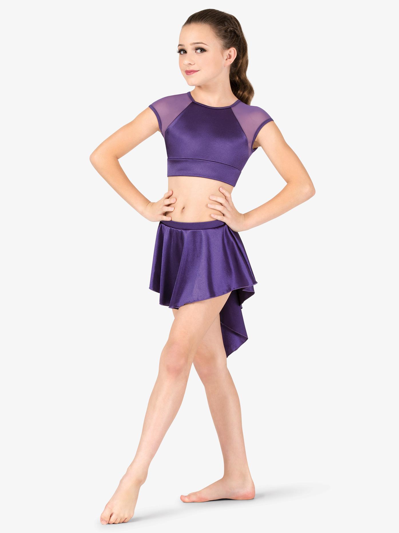 Double Platinum Girls Performance Satin Gathered Back Short Skirt N7683C
