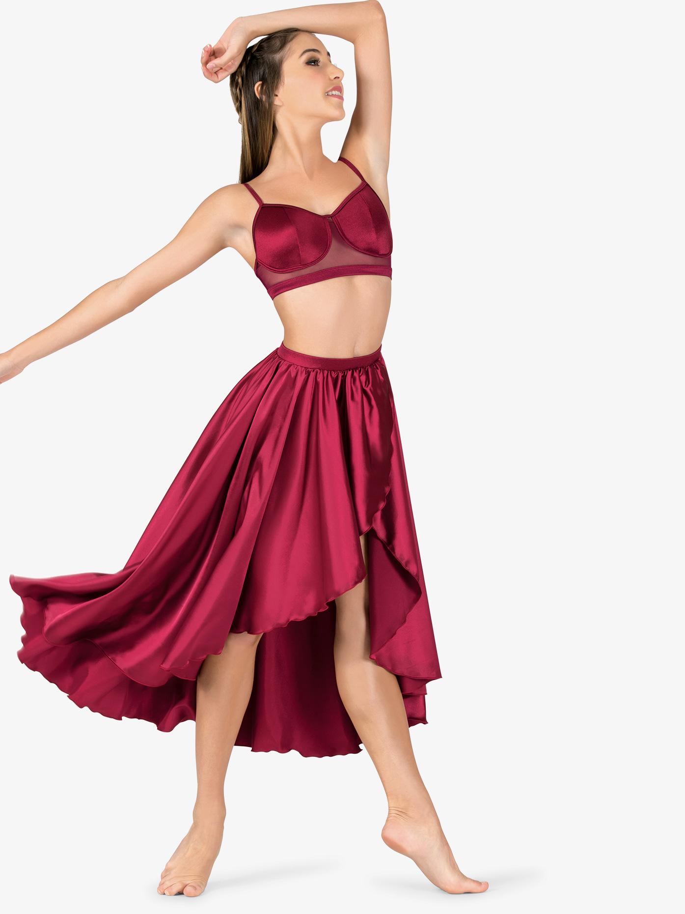 Double Platinum Womens Performance Satin Mock Wrap Skirt N7684