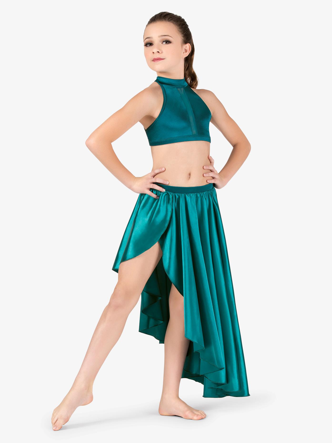 Double Platinum Girls Performance Satin Mock Wrap Skirt N7684C