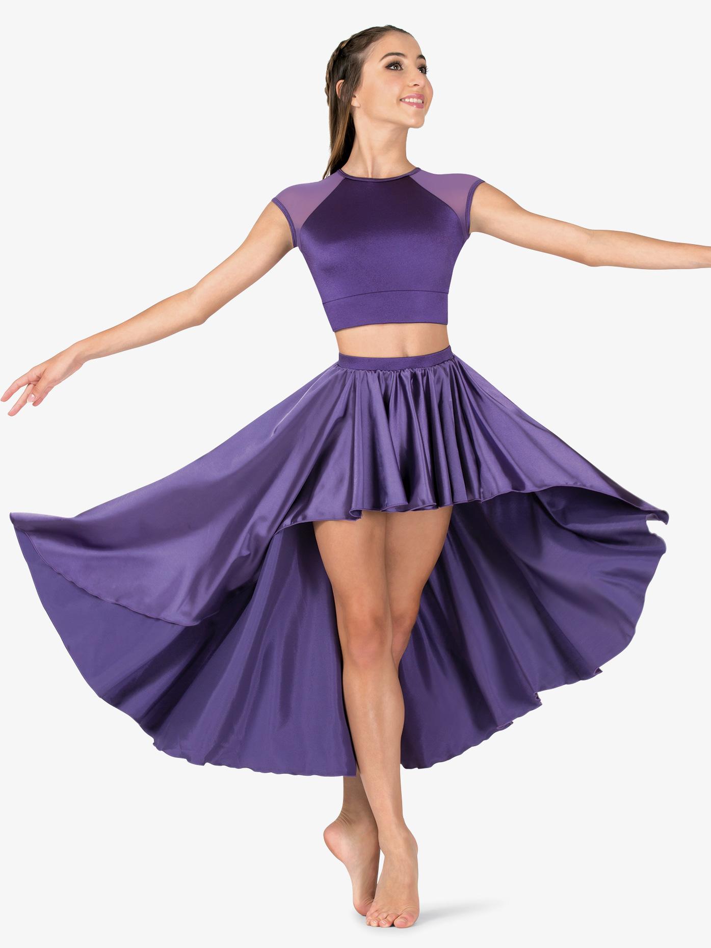Double Platinum Womens Performance Satin High-Low Skirt N7686