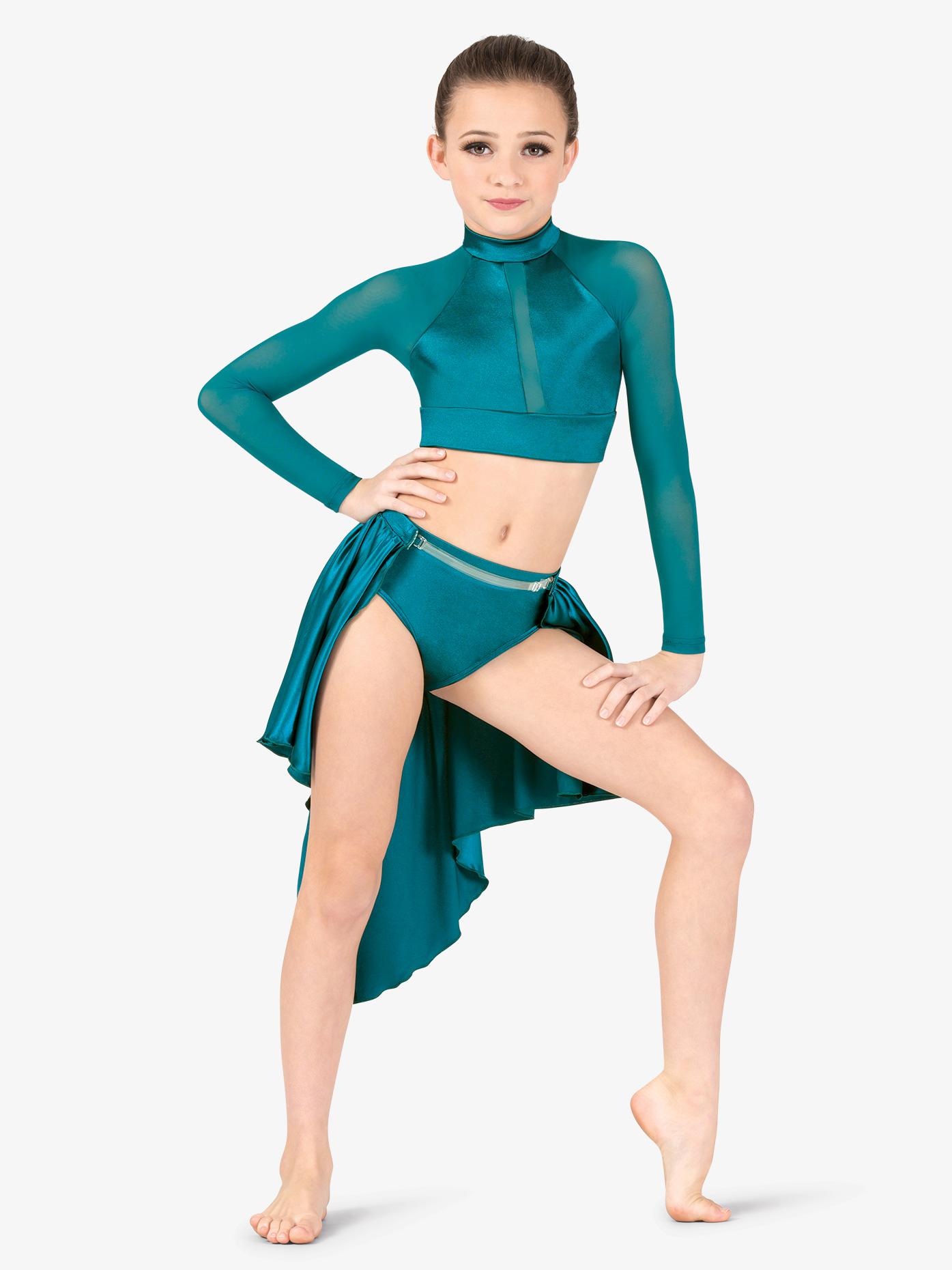 Double Platinum Girls Performance Satin Open Front Short Skirt N7687C
