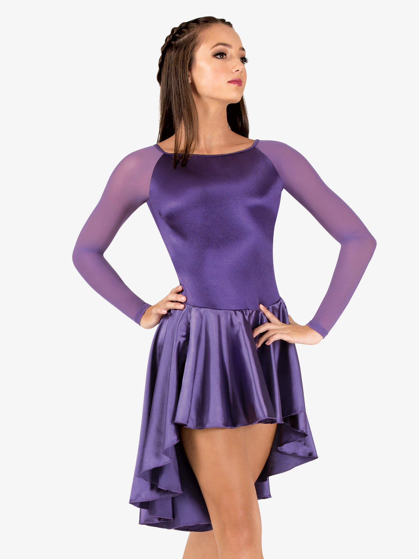 Performance Satin Asymmetrical Long Sleeve Dress | Double Platinum ...