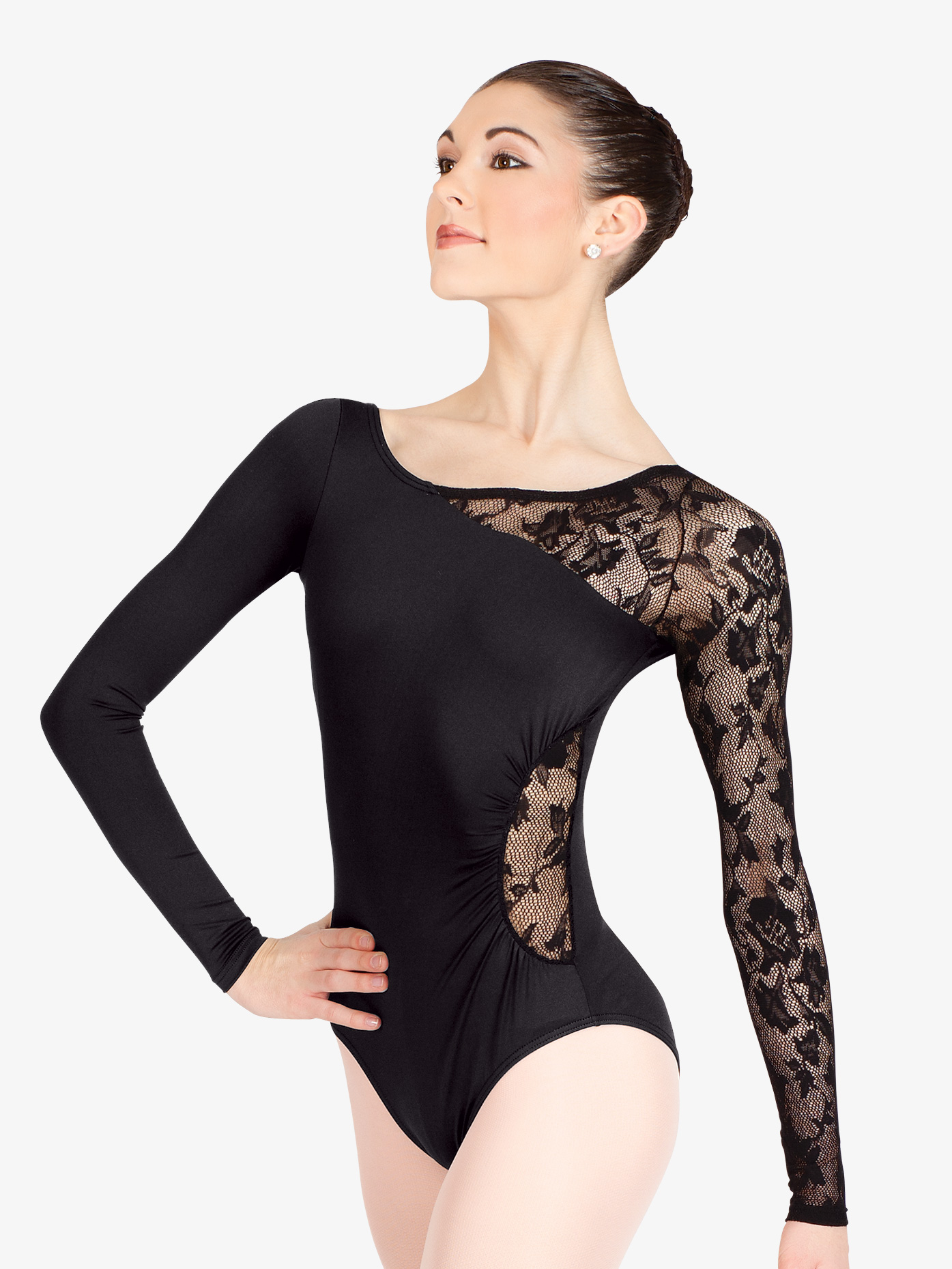 fc26243b9 Long Sleeve Leotard with Lace Sleeve and Insert - Fashion Leotards ...