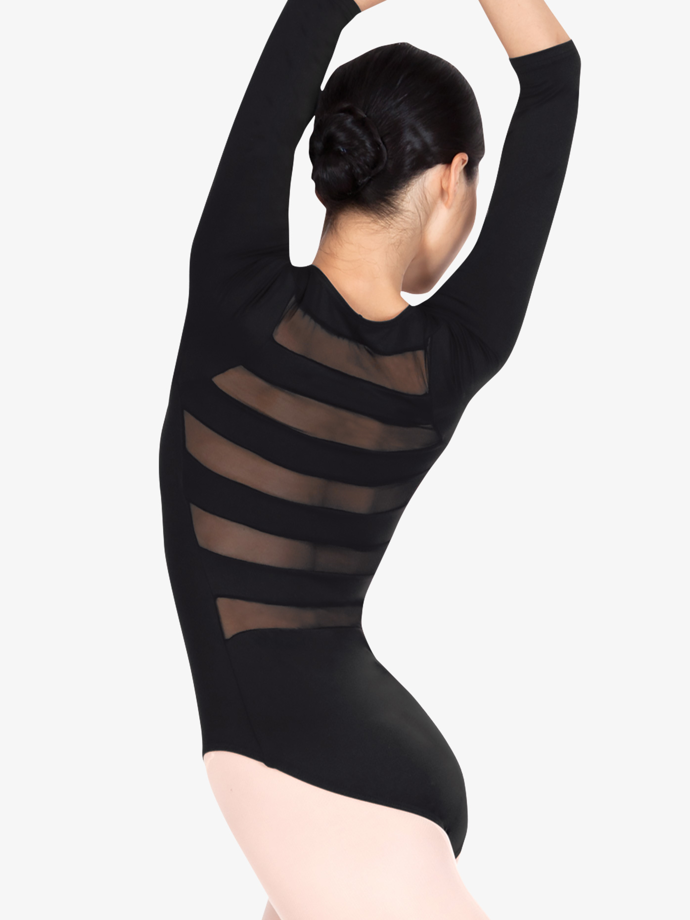 f3a3c1e5035 Adult 3 4 Sleeve Striped Back Leotard - Style No N8678. Loading zoom