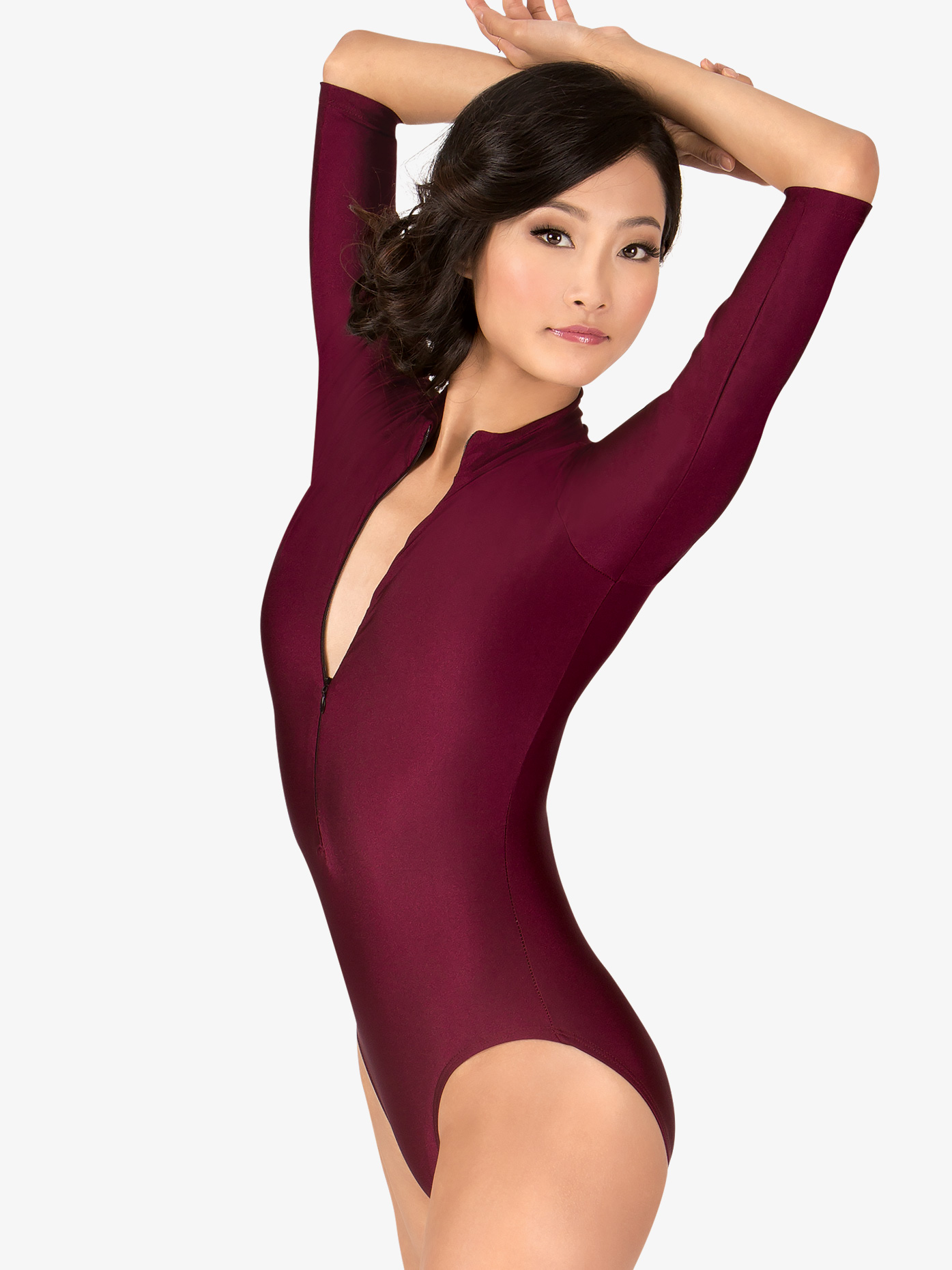 Natalie 3/4 Sleeve Zip Front Leotard N8733