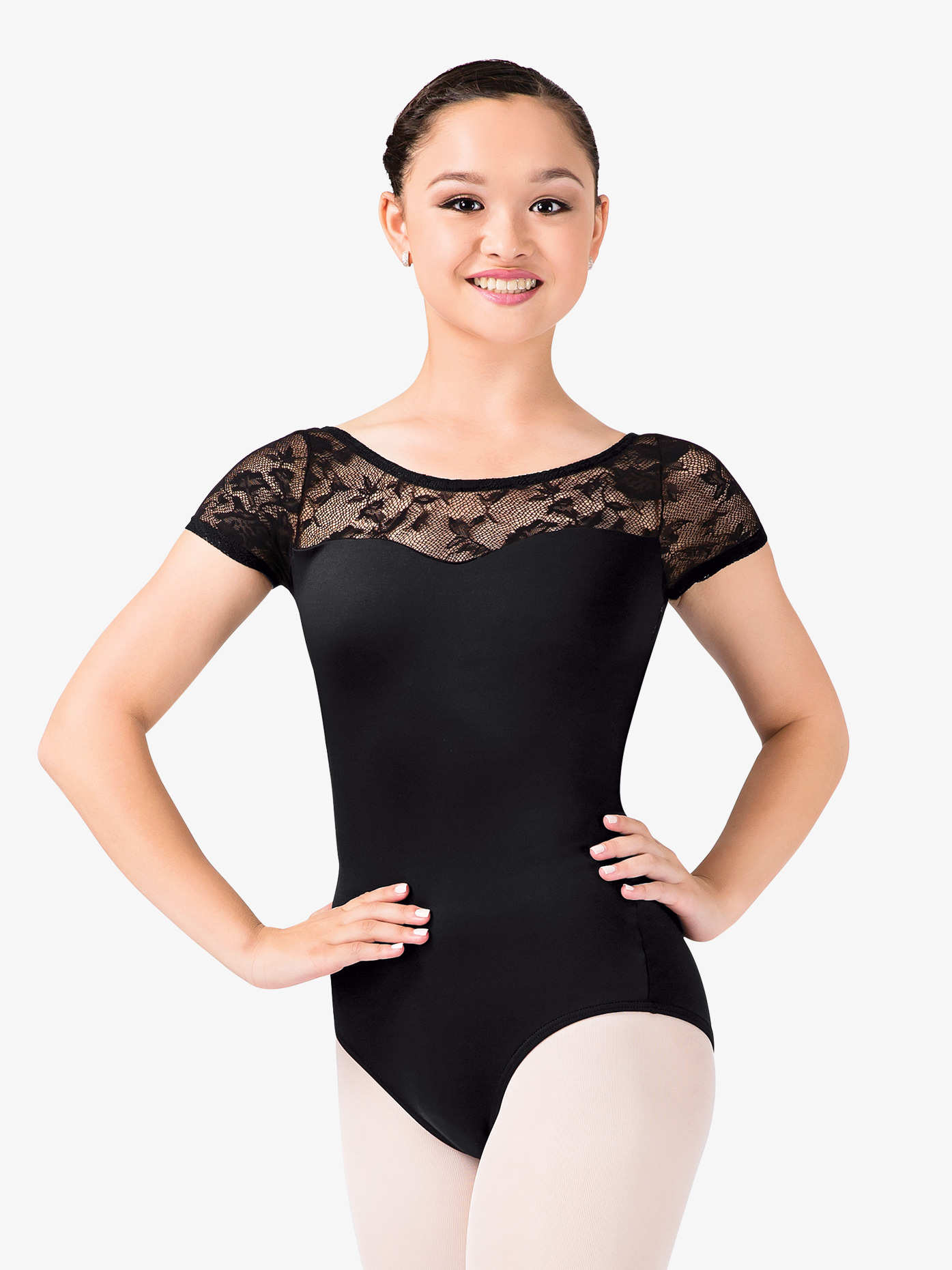 Natalie Short Sleeve Lace Leotard N8774