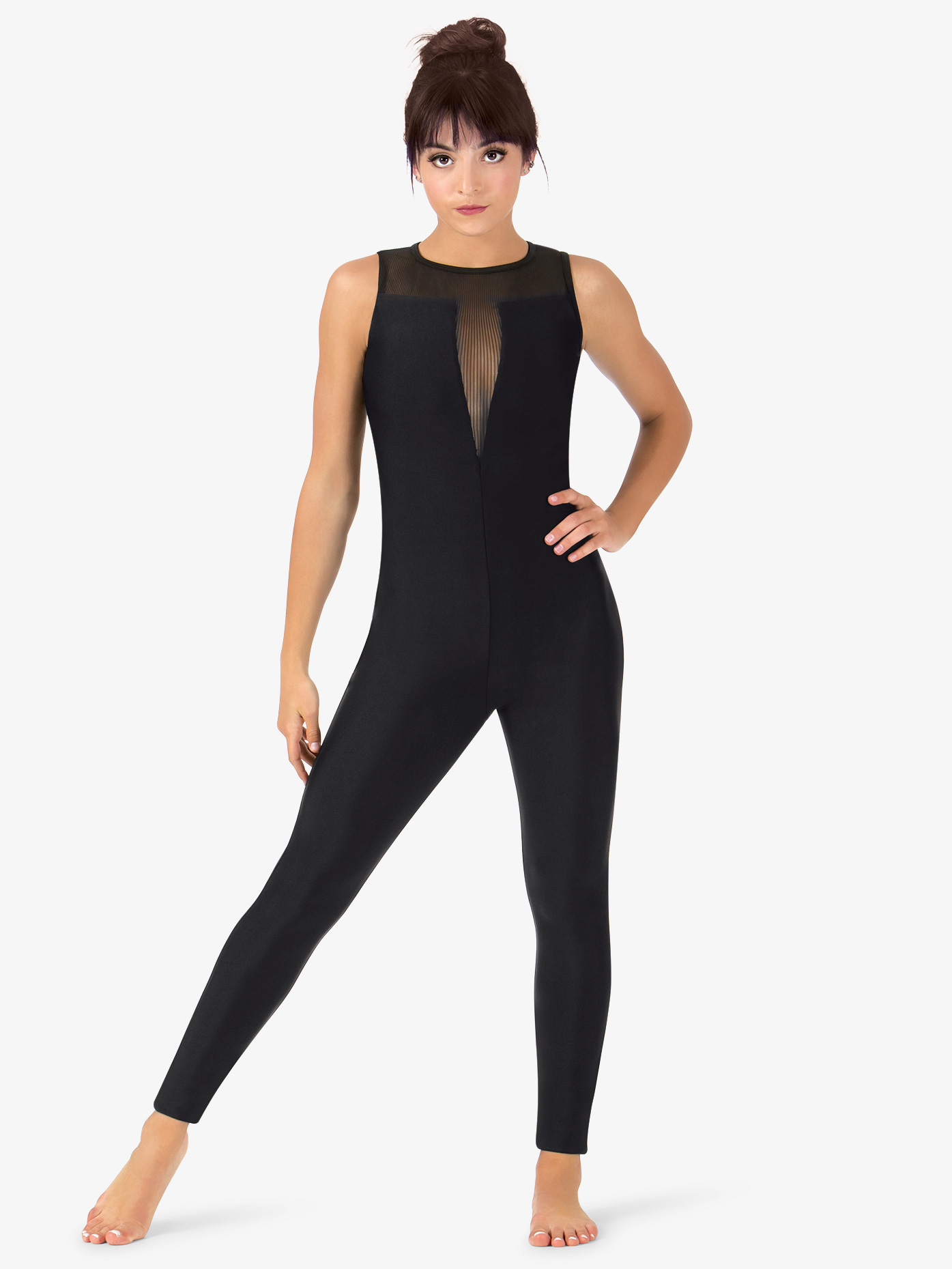 Natalie Womens Striped Mesh Dance Stirrup Unitard N9032
