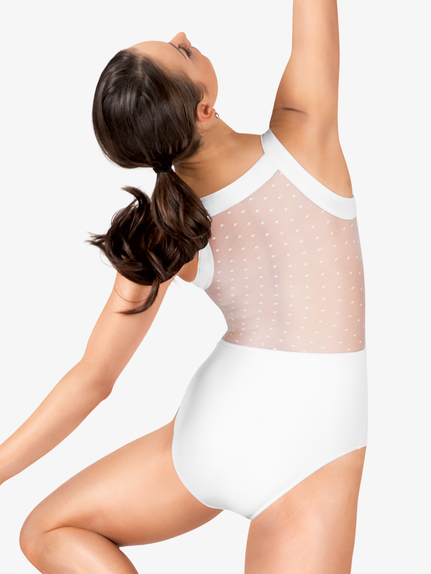 Natalie Couture Dot Mesh Tank Leotard NC8820