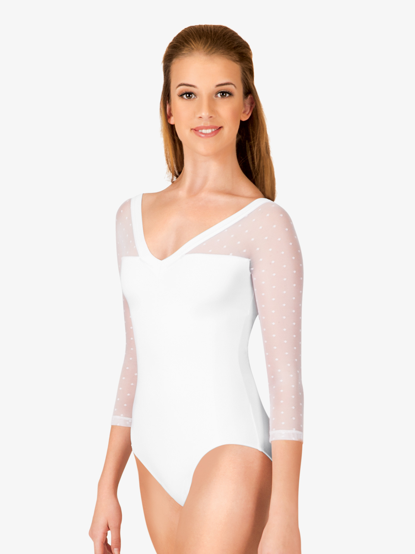 Natalie Couture Dot Mesh 3/4 Sleeve Leotard NC8821