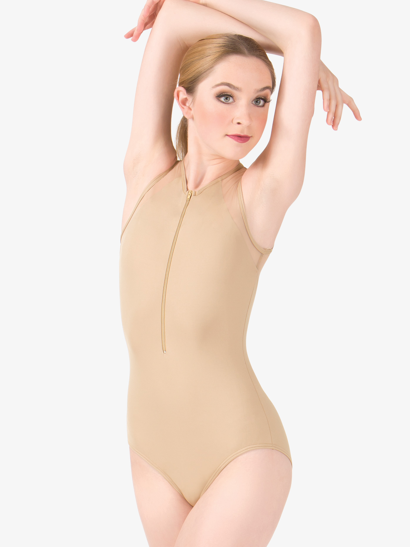 Natalie Couture Adult Mesh Tank Zip Front Leotard NC8890