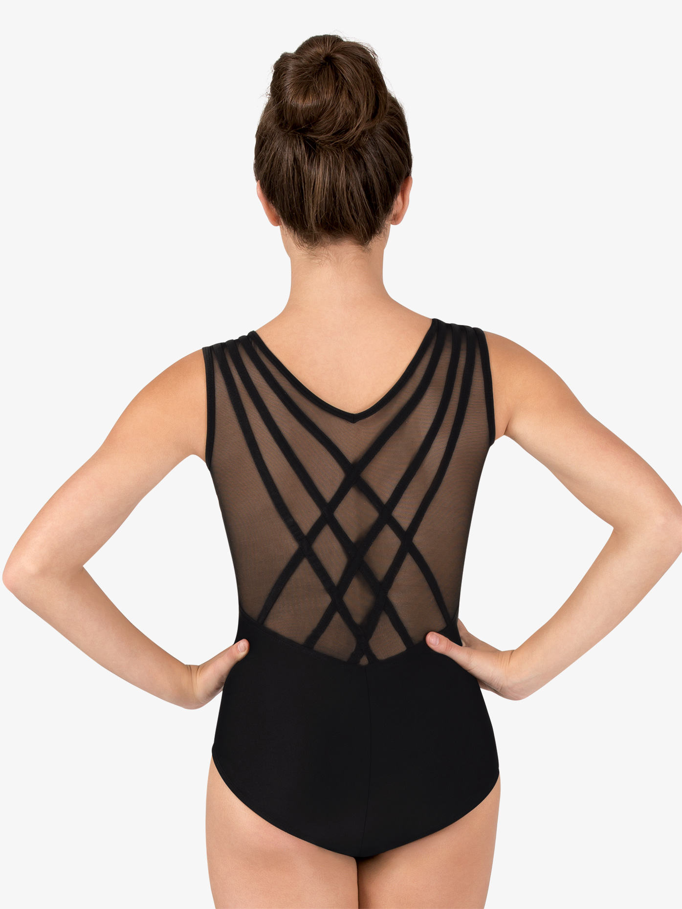 Natalie Couture Womens Mesh Back Binding Tank Leotard NC8910
