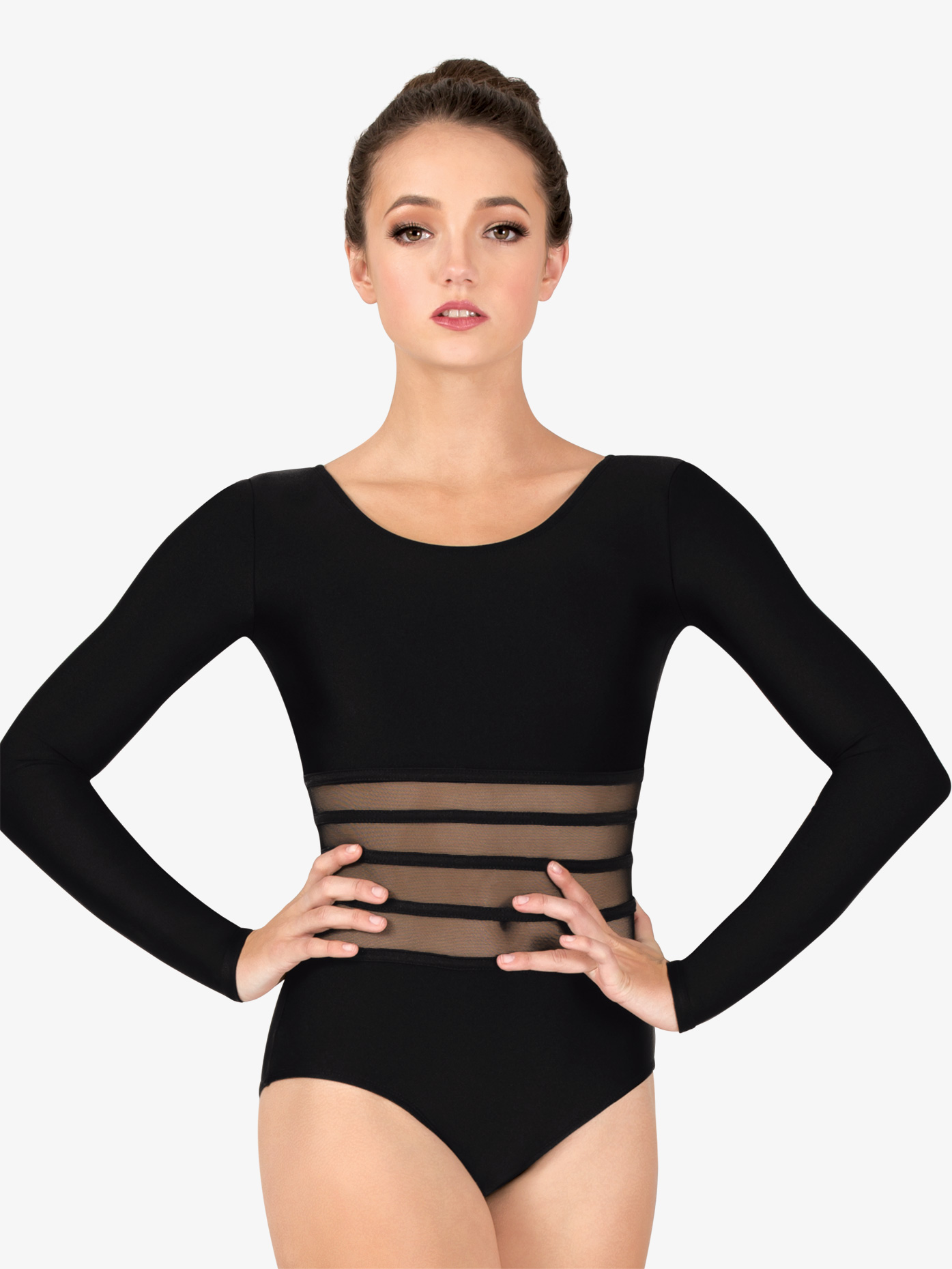 Natalie Couture Womens Mesh Binding Waist Long Sleeve Leotard NC8911