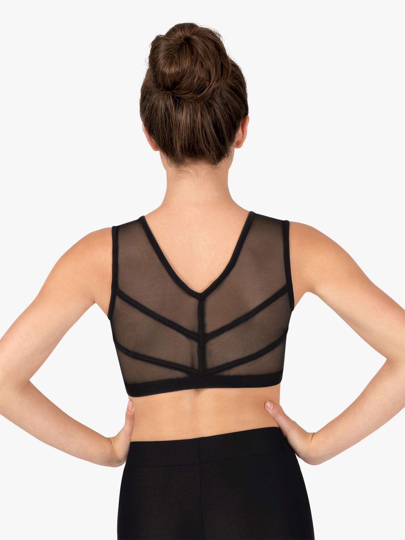 Natalie Couture Womens Mesh Binding V-Back Dance Tank Bra Top NC8912