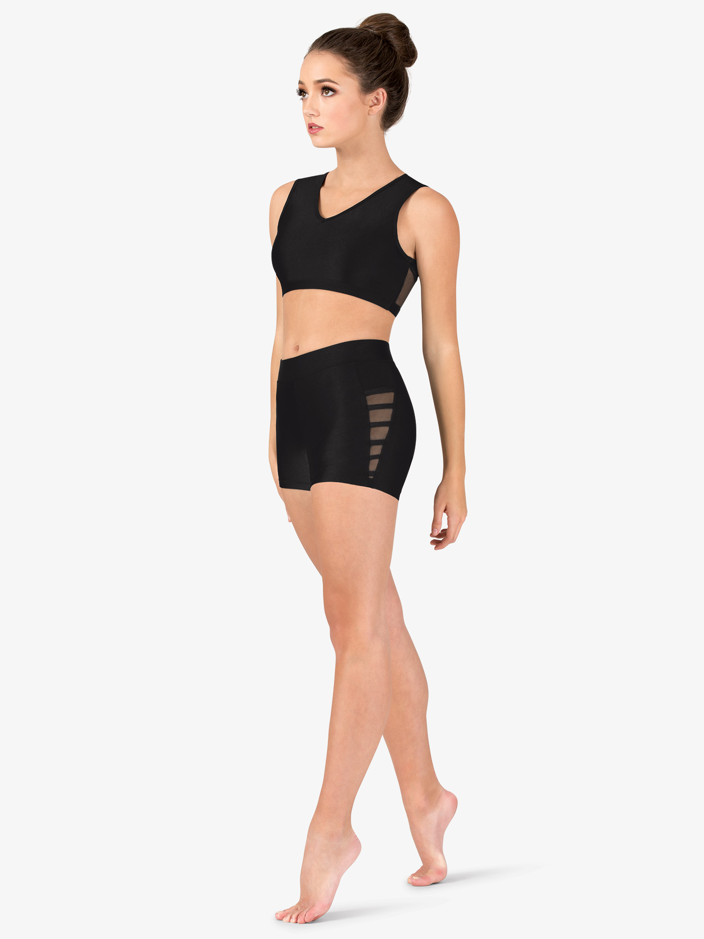 Natalie Couture Womens Mesh Binding Side Detail Dance Shorts NC8913