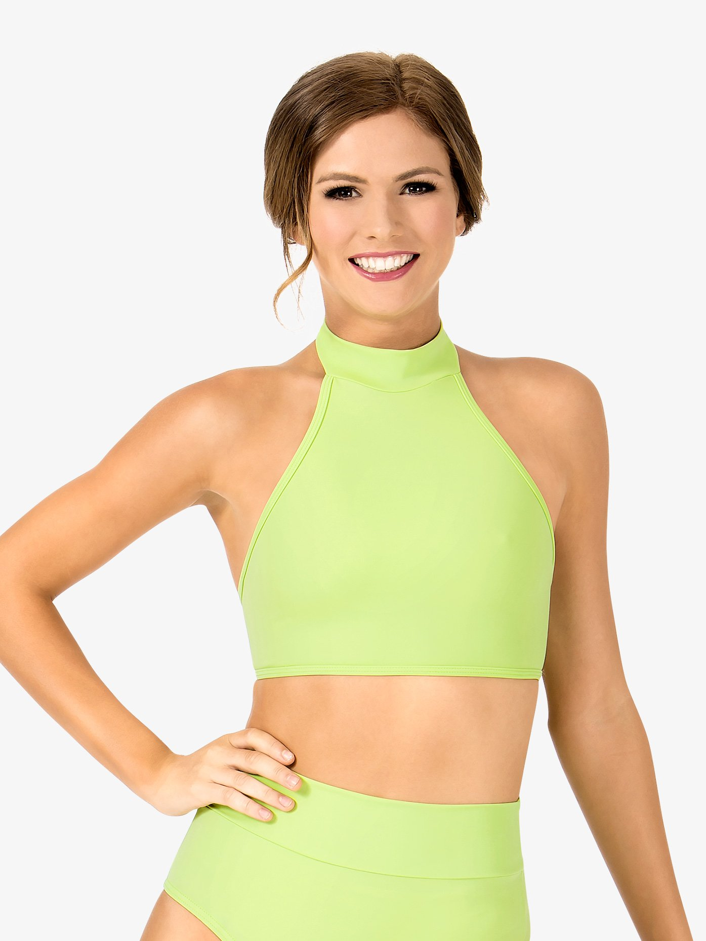 15f46fe5c7fe8 Adult Double Strap Halter Dance Crop Top - Style No NL9019. Loading zoom