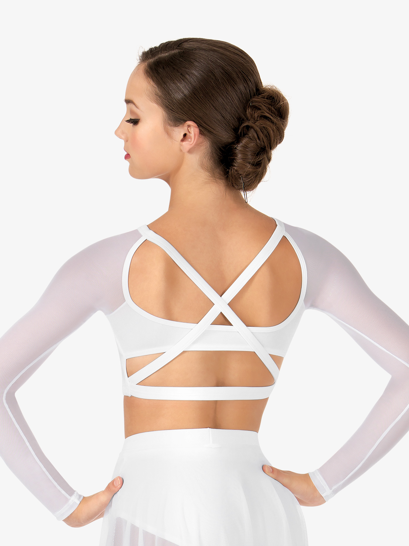 1a67f3c6a697b Adult Long Sleeve X-Back Dance Crop Top - Style No NL9020. Loading zoom