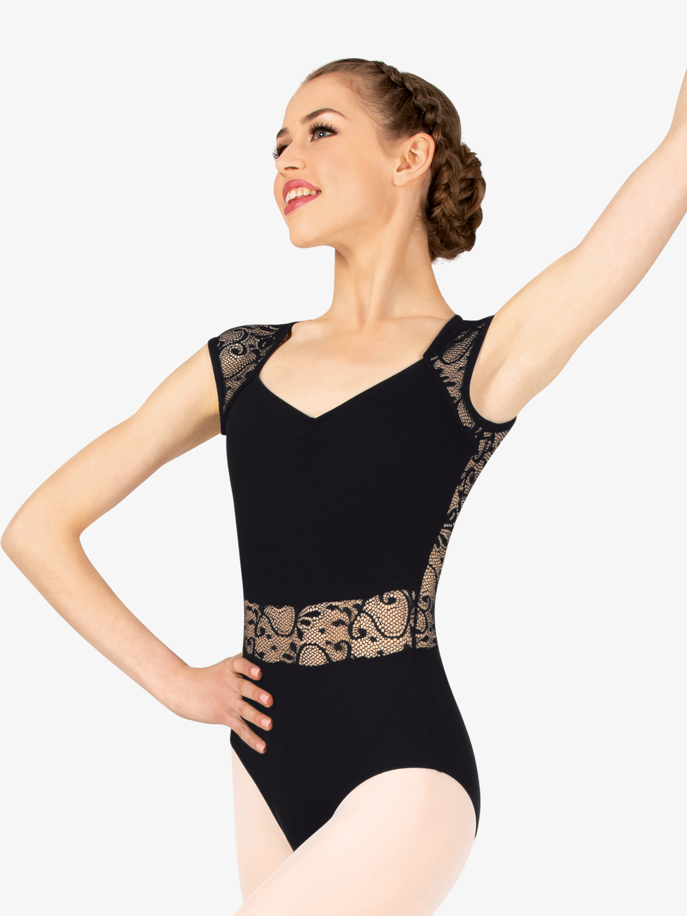 Natalie Couture Womens Lace V-Front Cap Sleeve Leotard P753