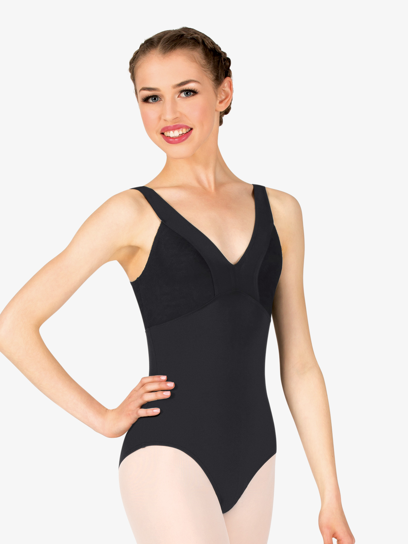 Natalie Couture Womens V-Front Tank Leotard P955