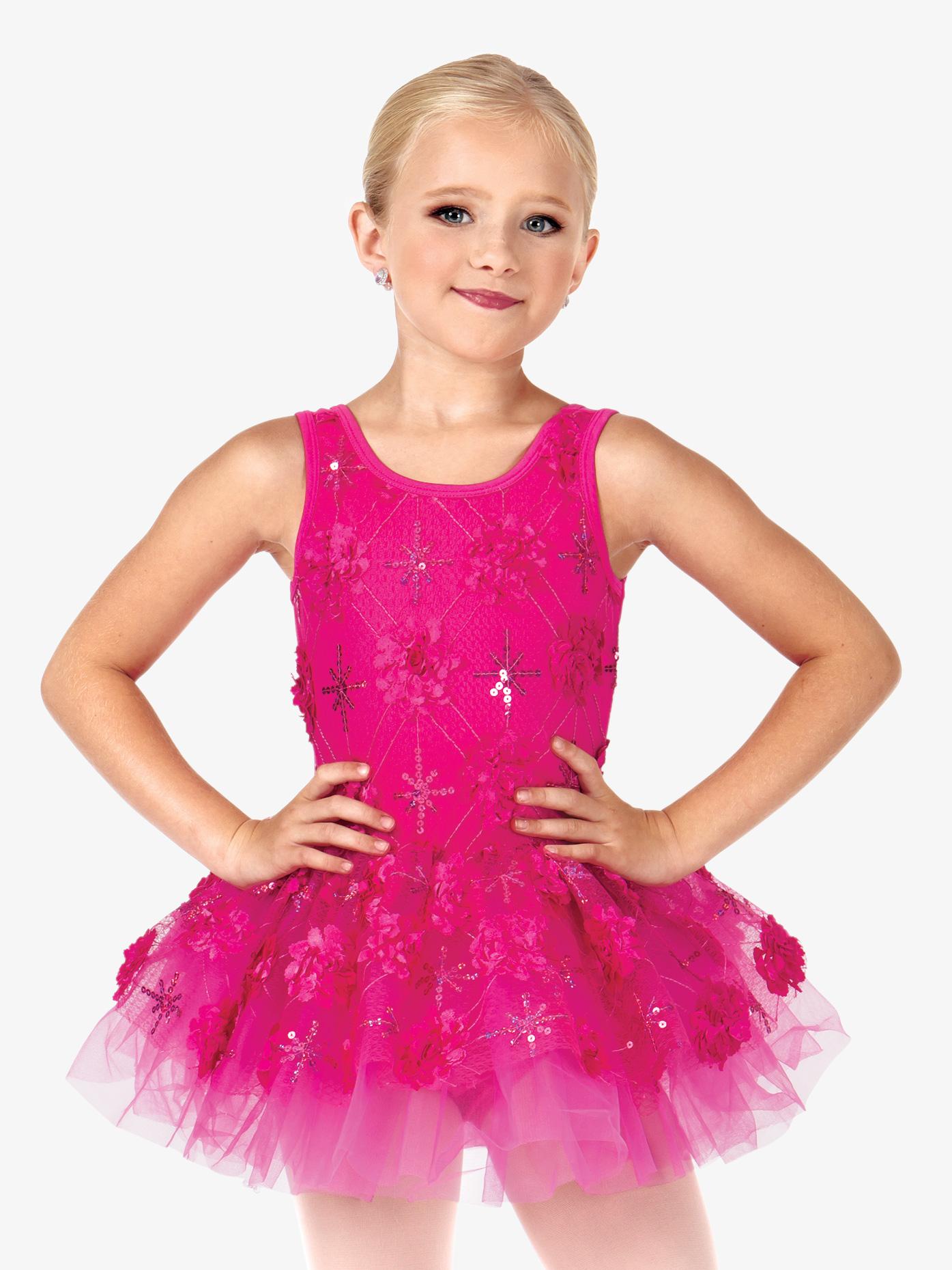La Petite Ballerina Child Flower Applique Tank Tutu Costume Dress PB2008C