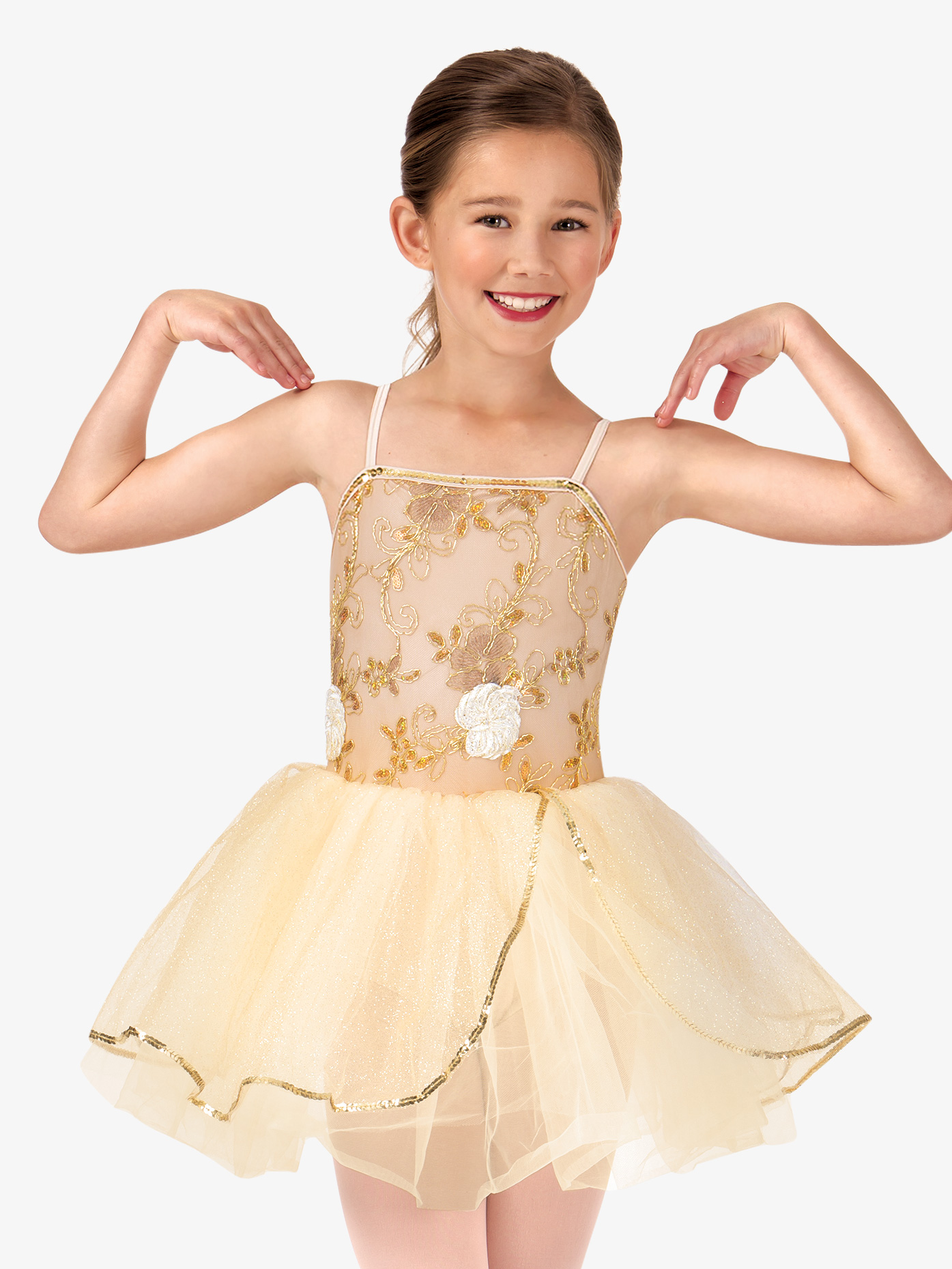 La Petite Ballerina Child Beaded Flower Camisole Tutu Costume Dress PB2013C