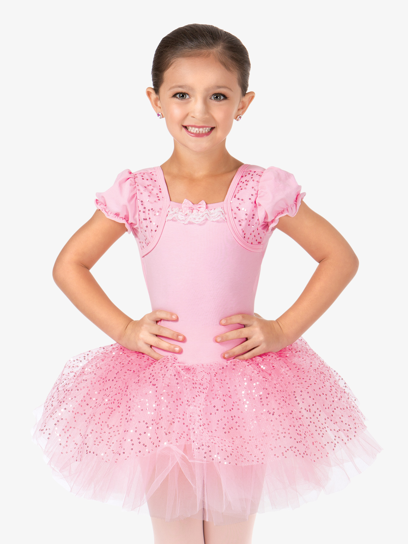 La Petite Ballerina Girls Mock Wrap Puff Sleeve Tutu Dress PB2019C