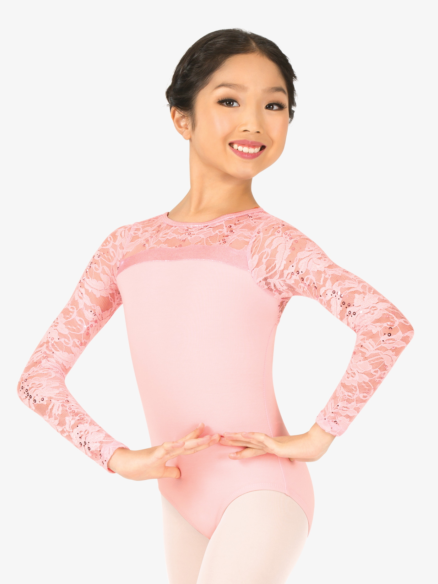 La Petite Ballerina Girls Sequin Lace Long Sleeve Leotard PB2034C