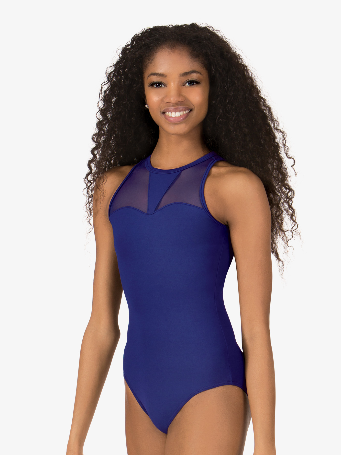 So Danca Womens High Neck Mesh Insert Tank Leotard RDE1618