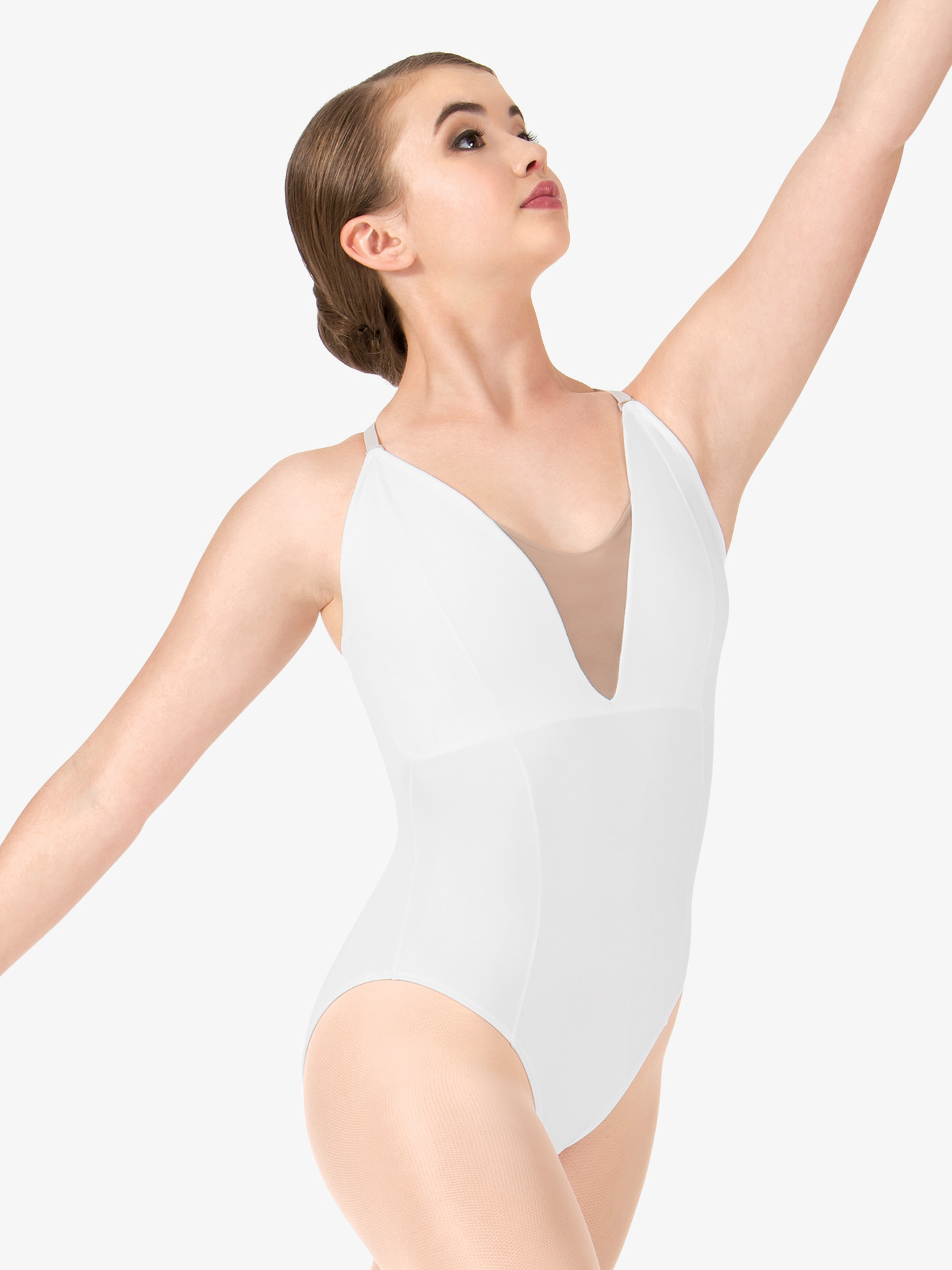 So Danca Womens Deep V Mesh Leotard RDE1623