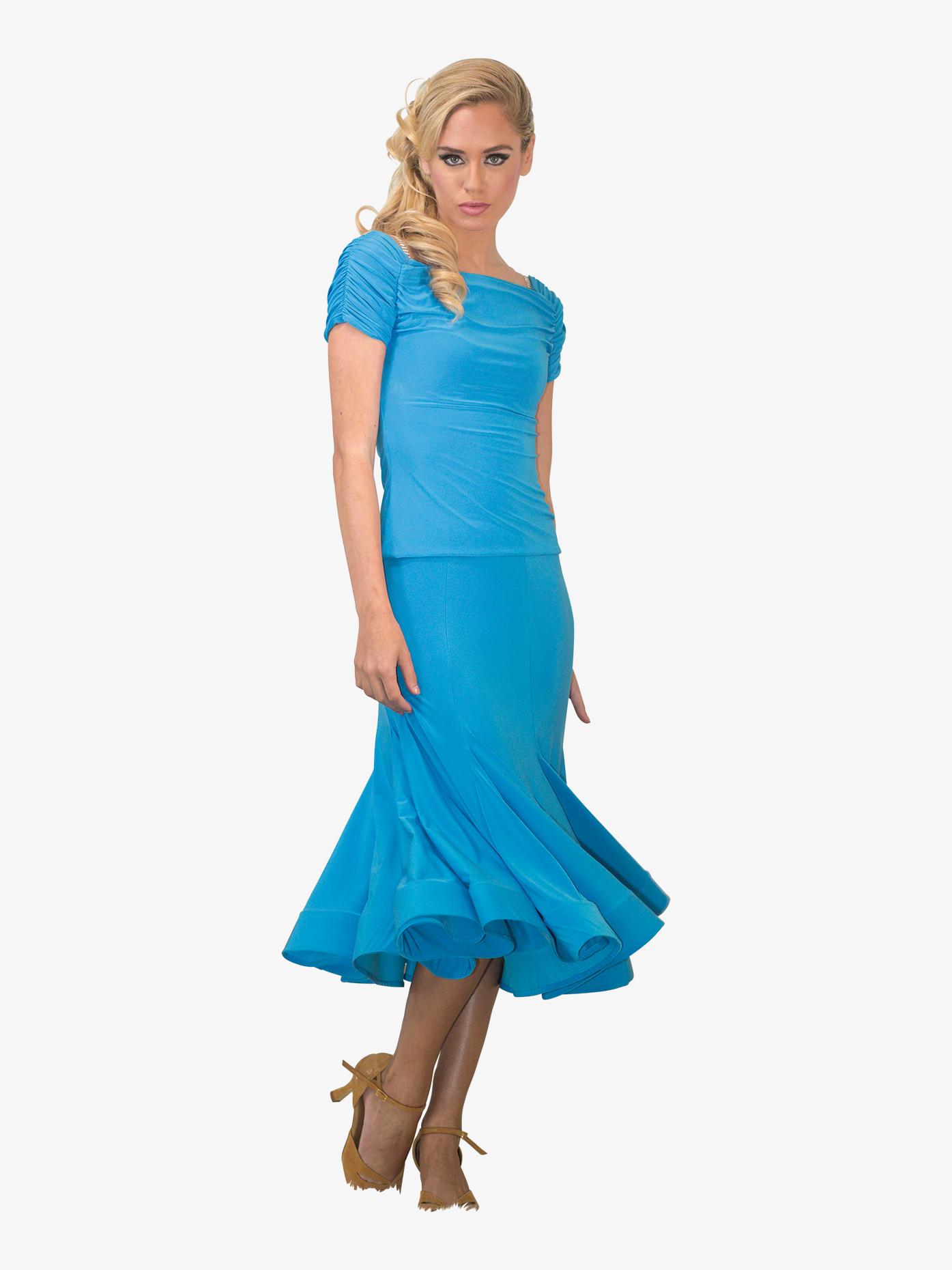 Dance America Womens Mid-Length Trumpet Ballroom Skirt S722