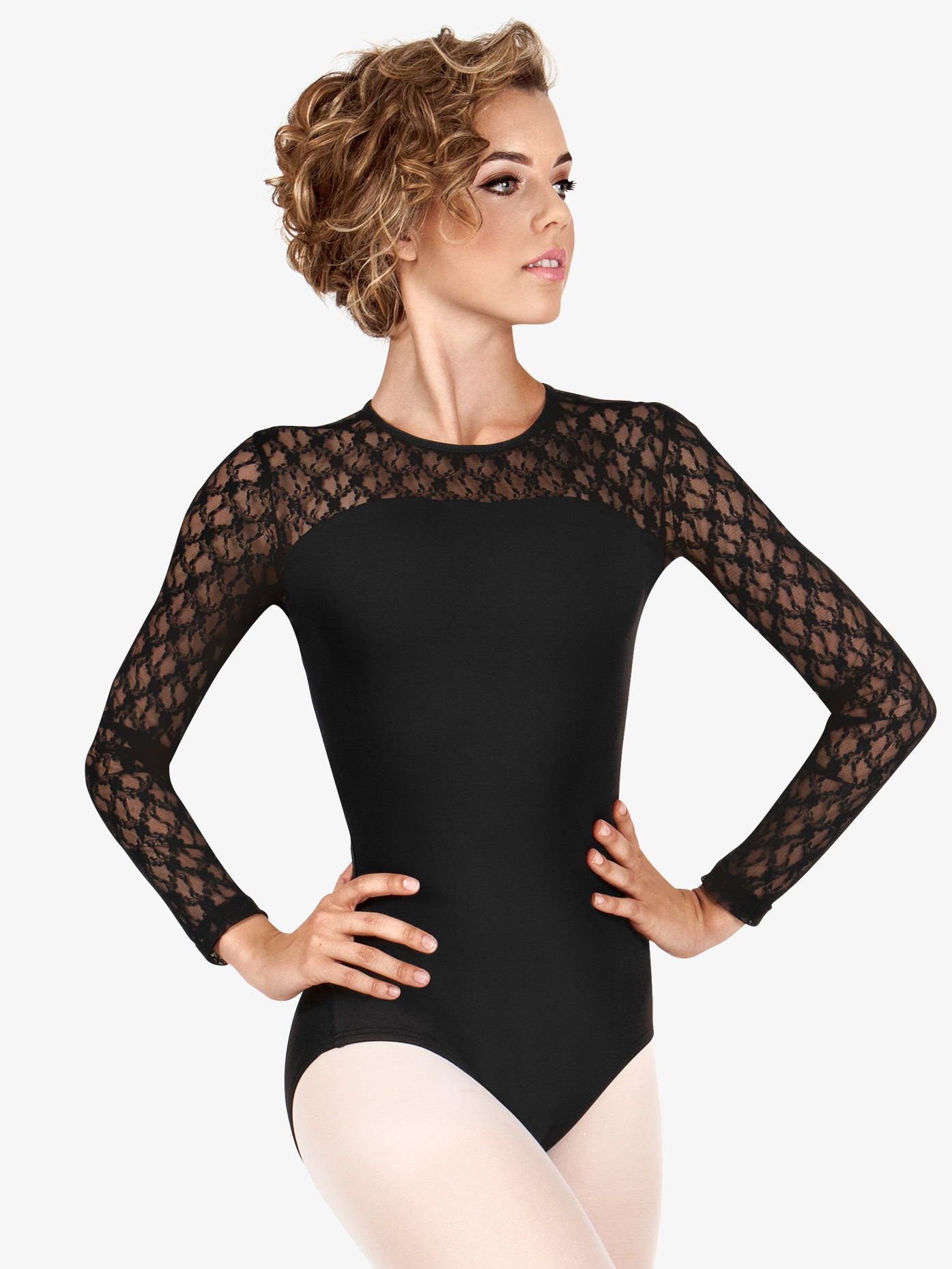 BalTogs Lace Long Sleeve Leotard SIL88200