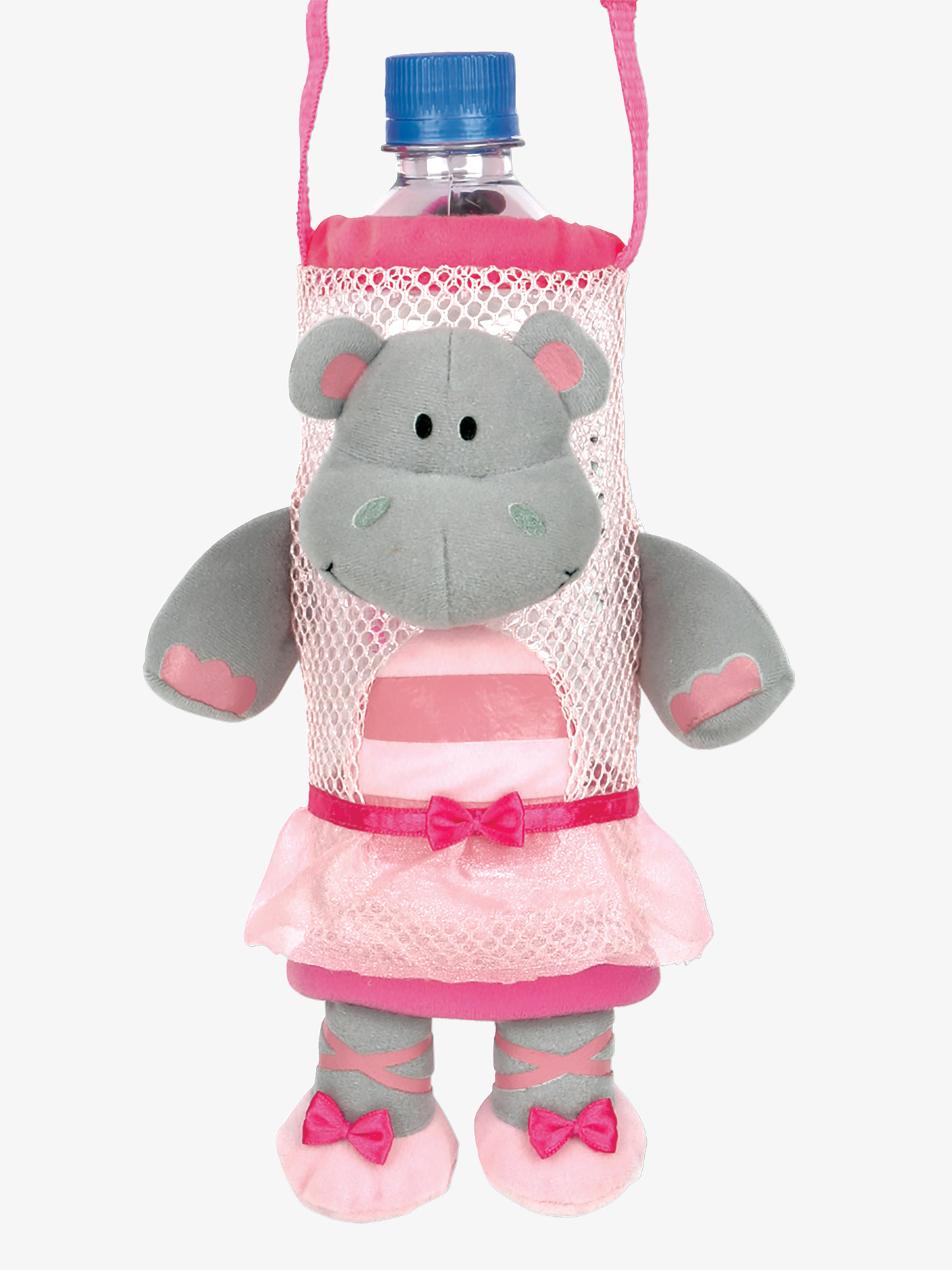 Water bottle holder with strap features an adorable plush hippo ballerina! Coordinates with matching Hippo Ballerina Back Pack available separately.